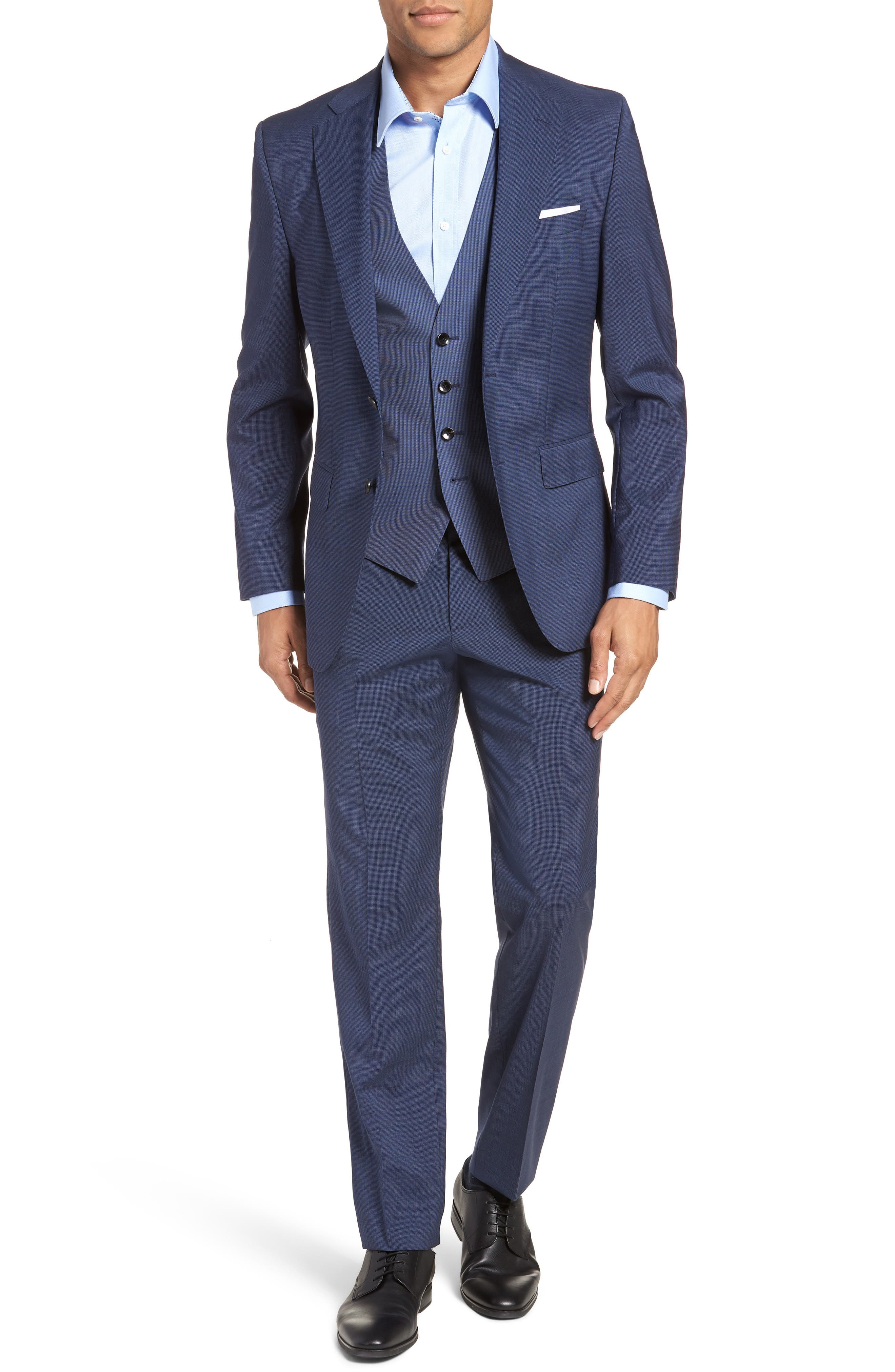 Johnstons/Lenon Classic Fit Houndstooth Wool Suit,                             Alternate thumbnail 8, color,                             BLUE