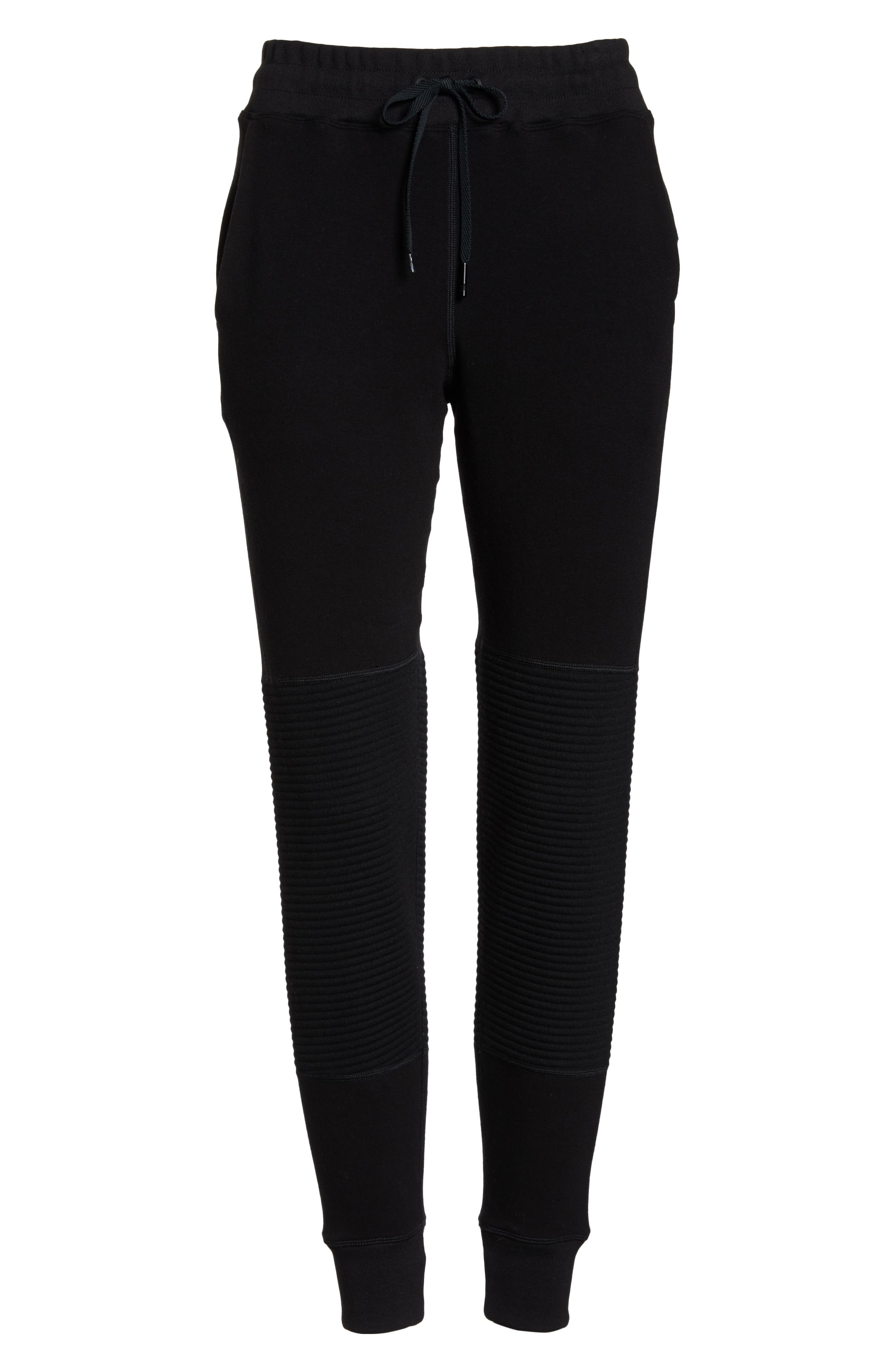 Moto Sweatpants,                             Alternate thumbnail 7, color,                             BLACK