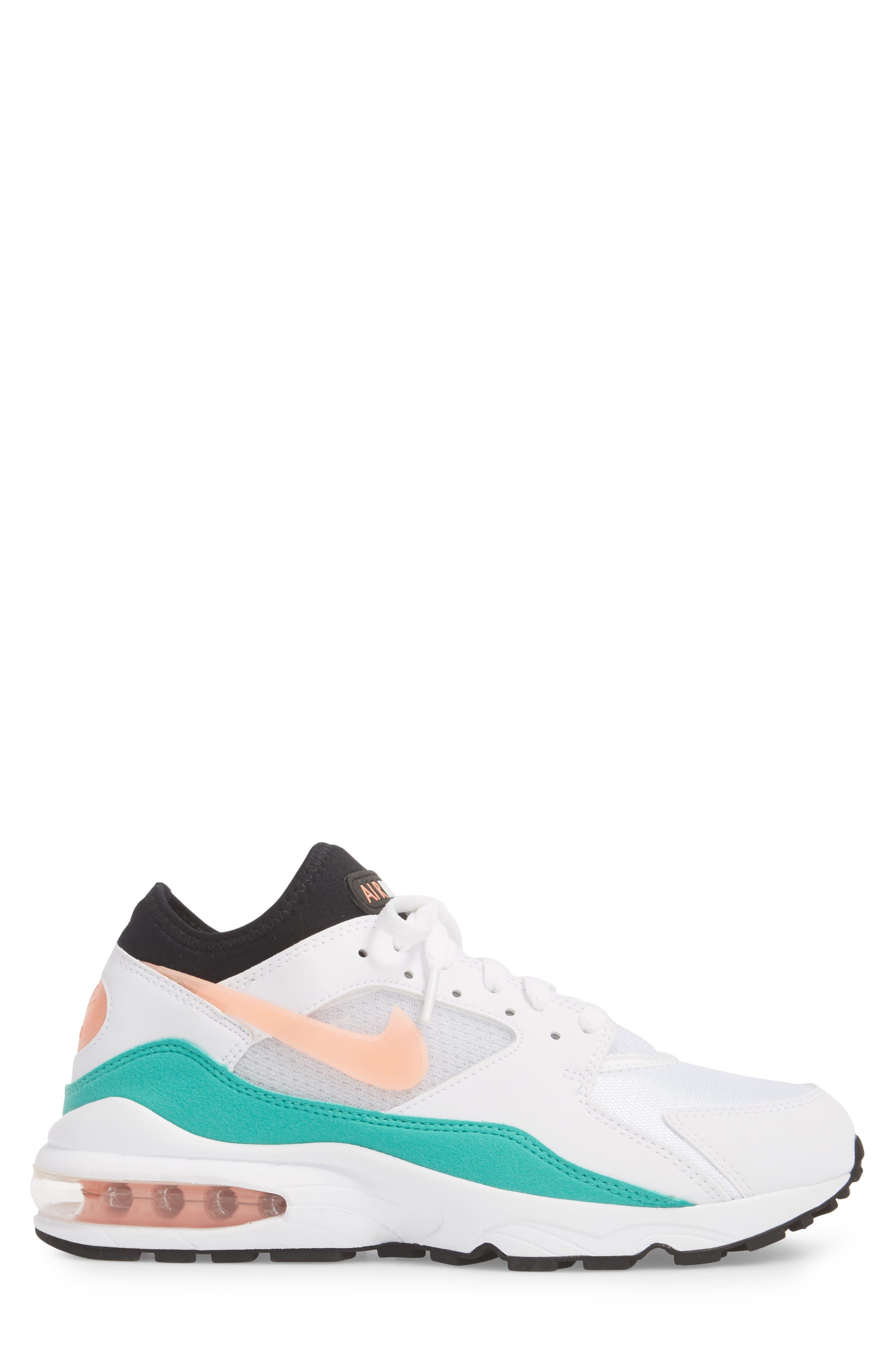 Air Max 93 Sneaker,                             Alternate thumbnail 3, color,                             WHITE/ CRIMSON BLISS
