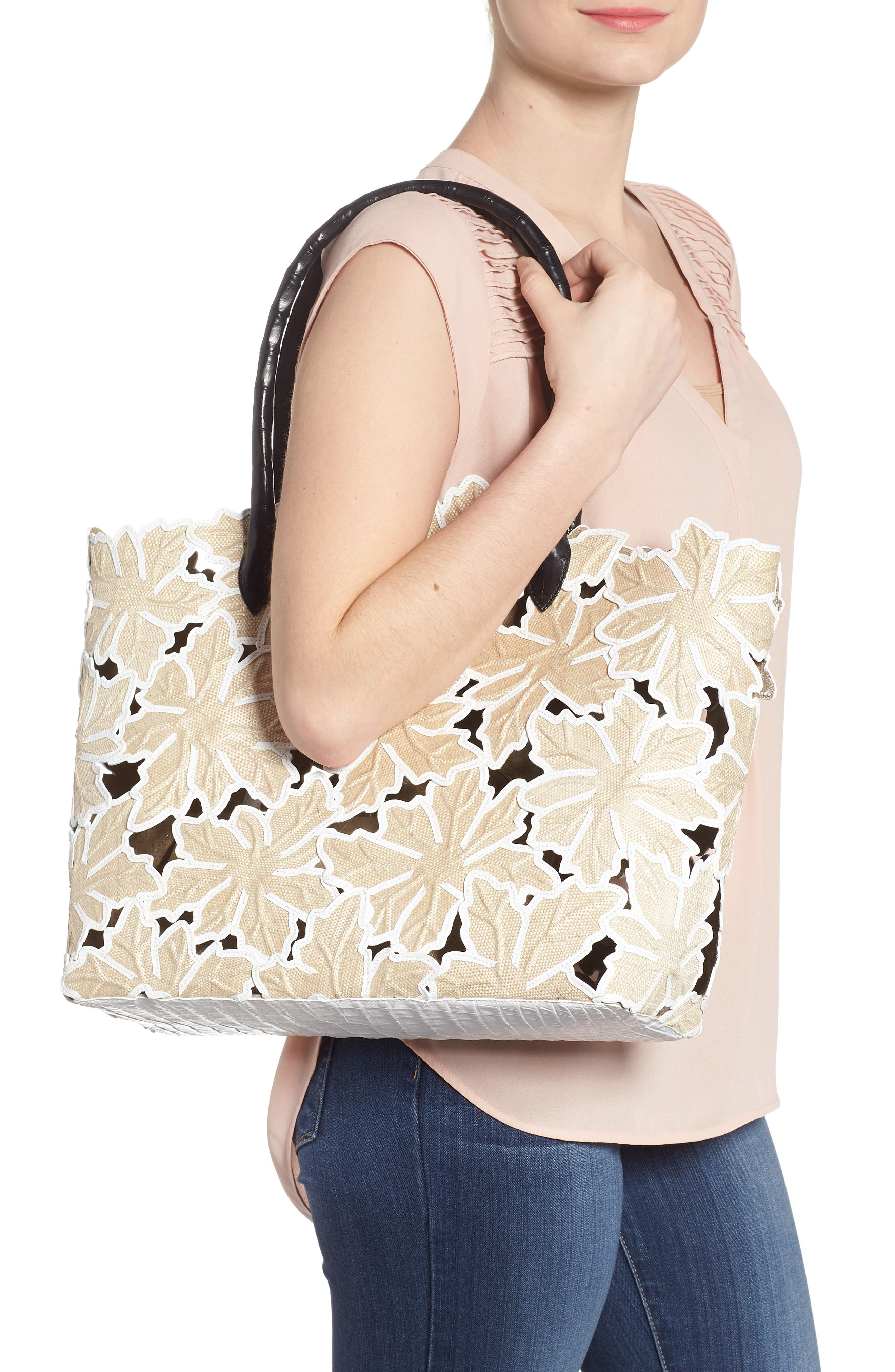 Pieced Leaf Linen & Genuine Crocodile Tote,                             Alternate thumbnail 2, color,                             250