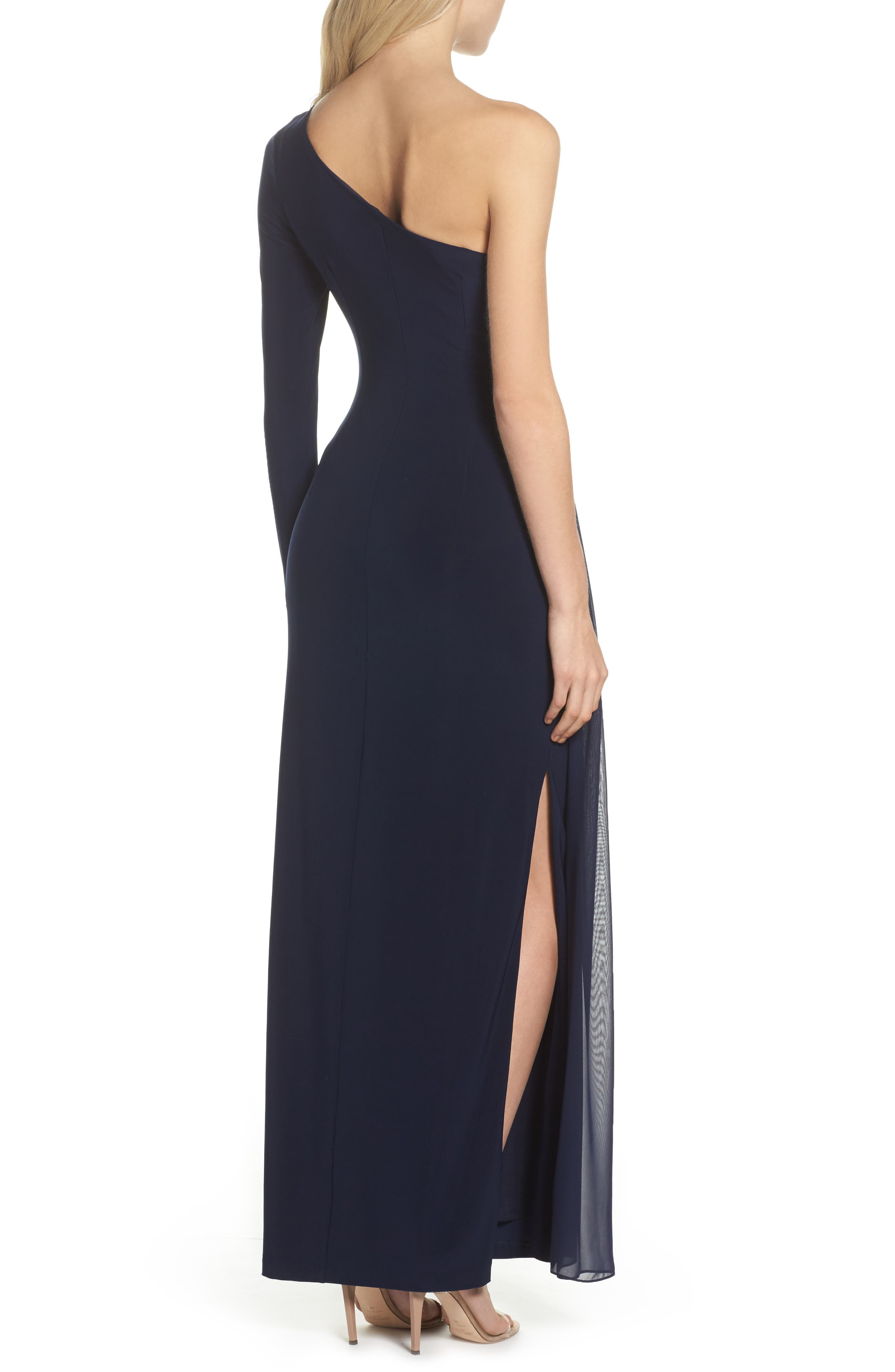 Chiffon Overlay One-Shoulder Gown,                             Alternate thumbnail 2, color,                             410