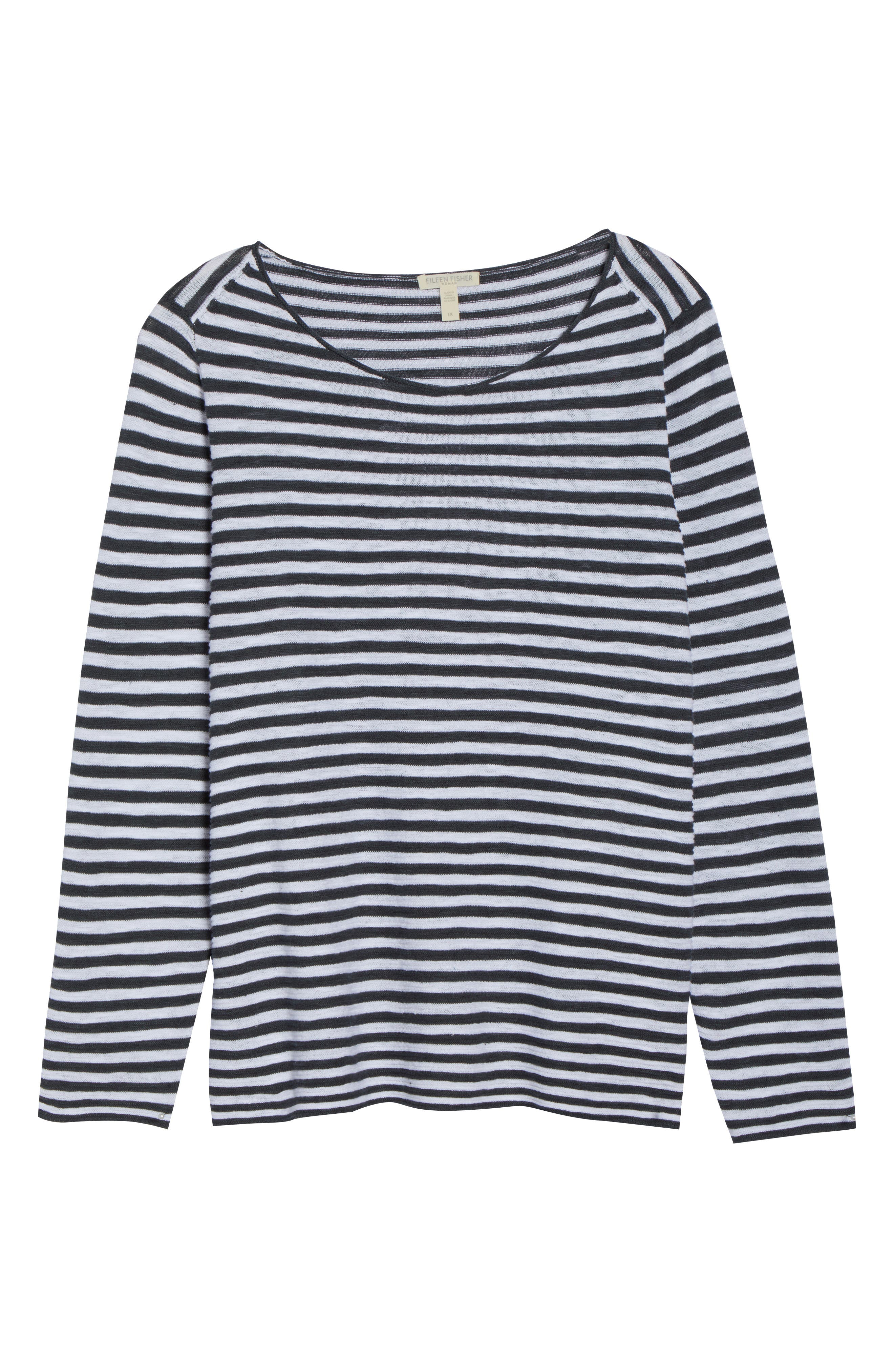 Stripe Organic Linen & Cotton Sweater,                             Alternate thumbnail 7, color,