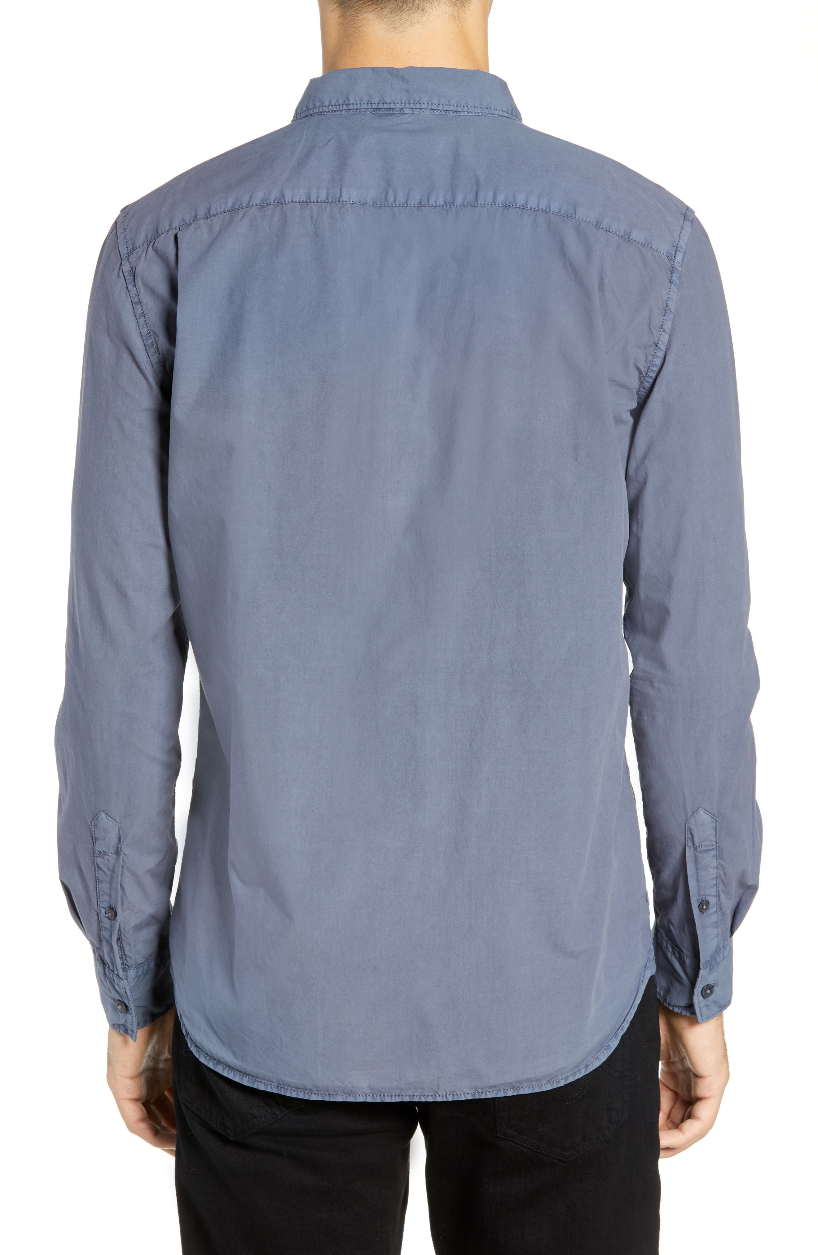 Overdyed Regular Fit Poplin Sport Shirt,                             Alternate thumbnail 3, color,                             RAF BLUE