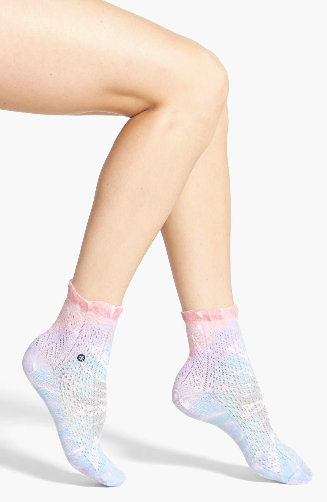 'Chloe' Tie-Dye Ankle Socks,                             Main thumbnail 1, color,                             530
