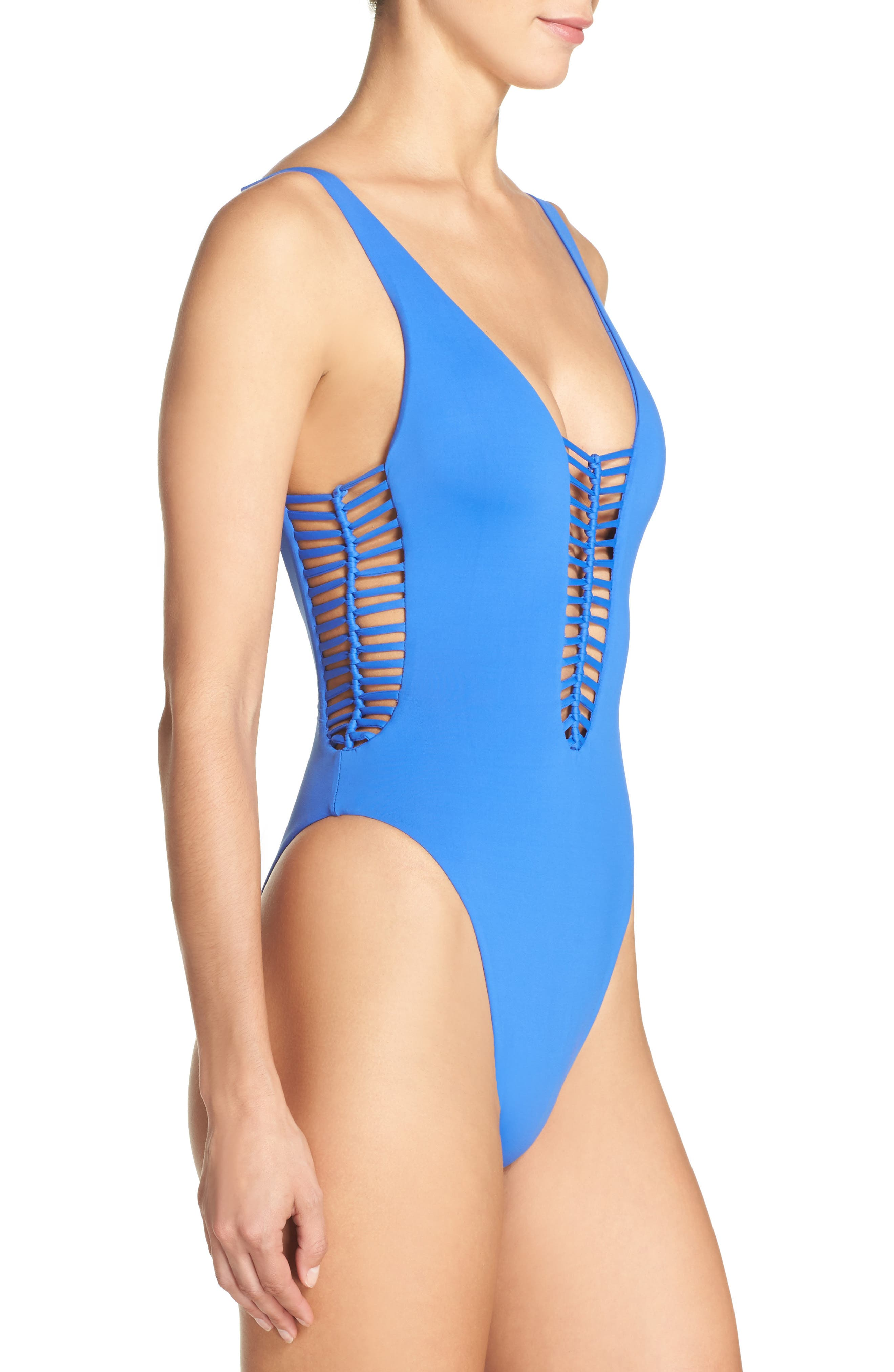 No Strings Attached One-Piece Swimsuit,                             Alternate thumbnail 3, color,                             400