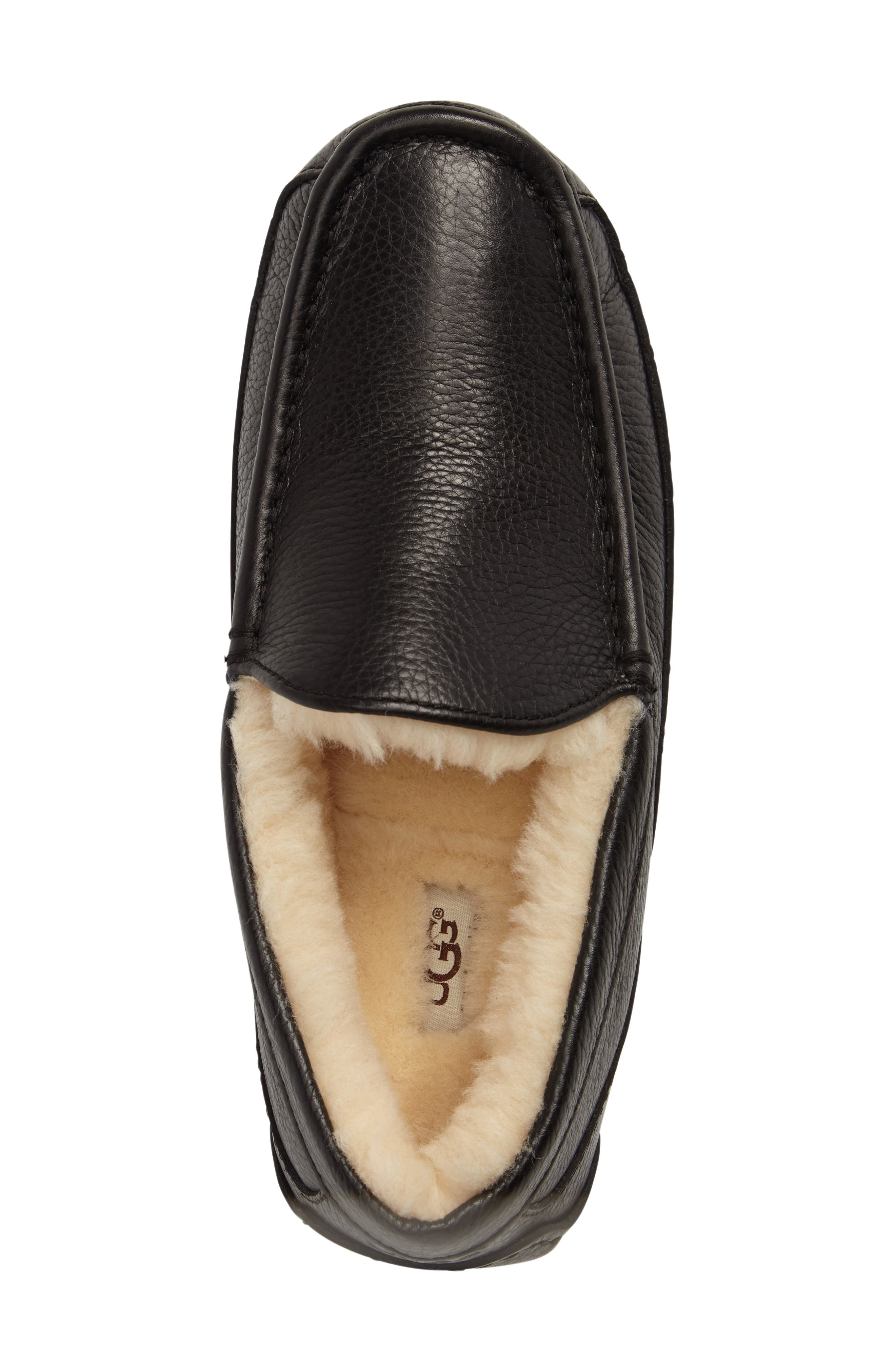 Ascot Leather Slipper,                             Alternate thumbnail 5, color,                             BLACK