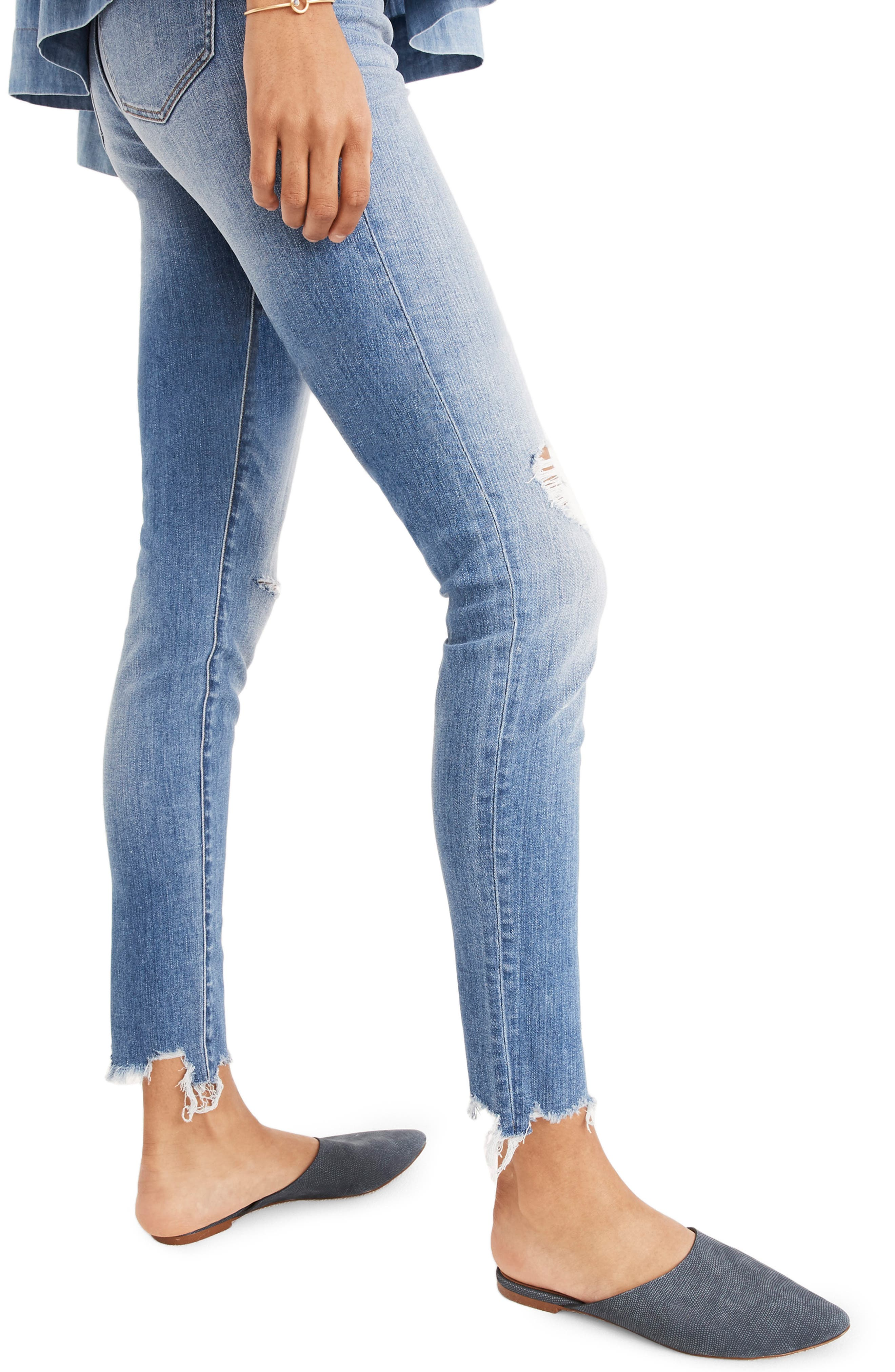 9-Inch Torn Knee Skinny Jeans,                             Alternate thumbnail 3, color,                             400