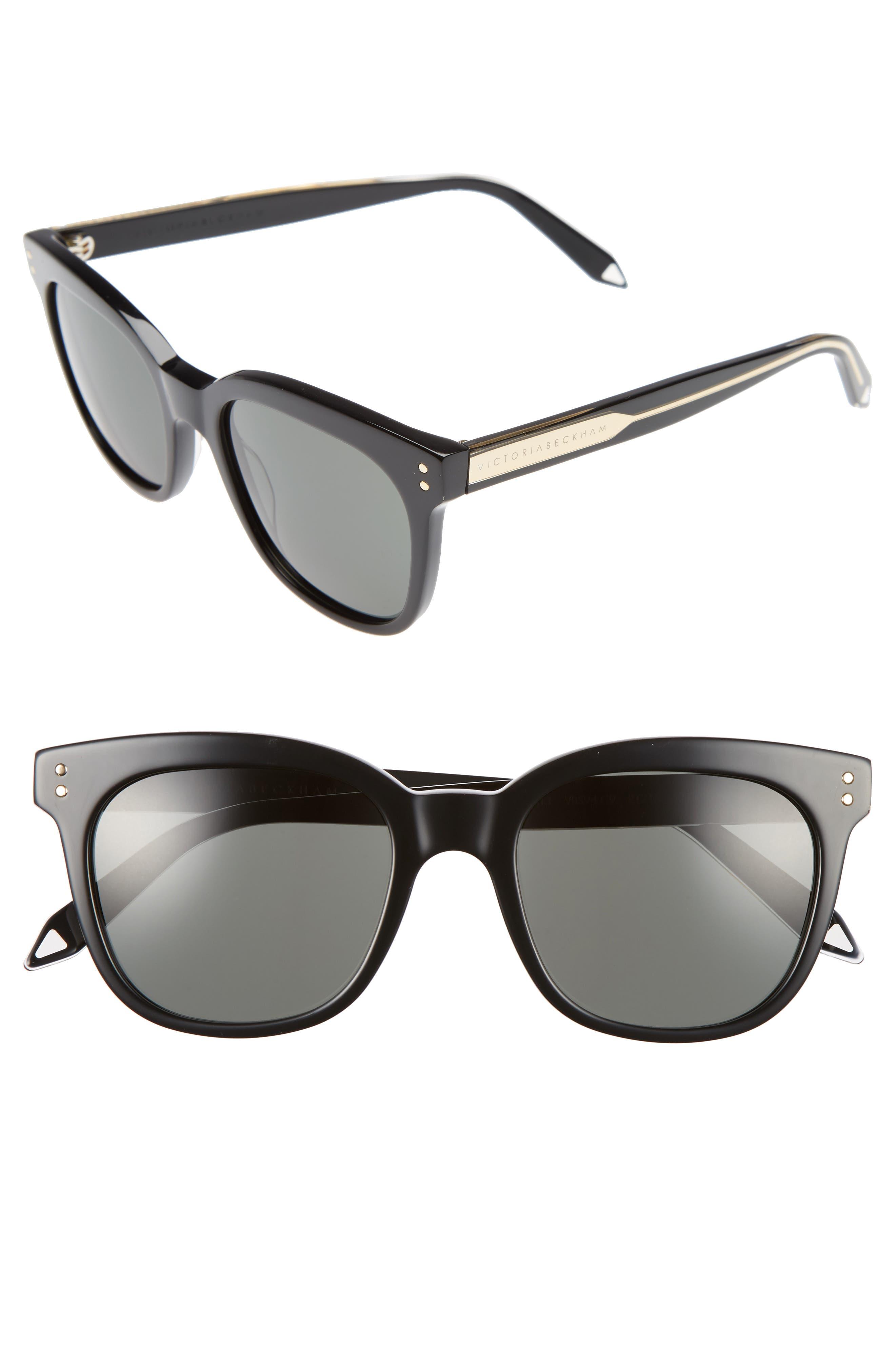 The VB 52mm Retro Sunglasses,                             Main thumbnail 1, color,                             BLACK/ SOFT GREY