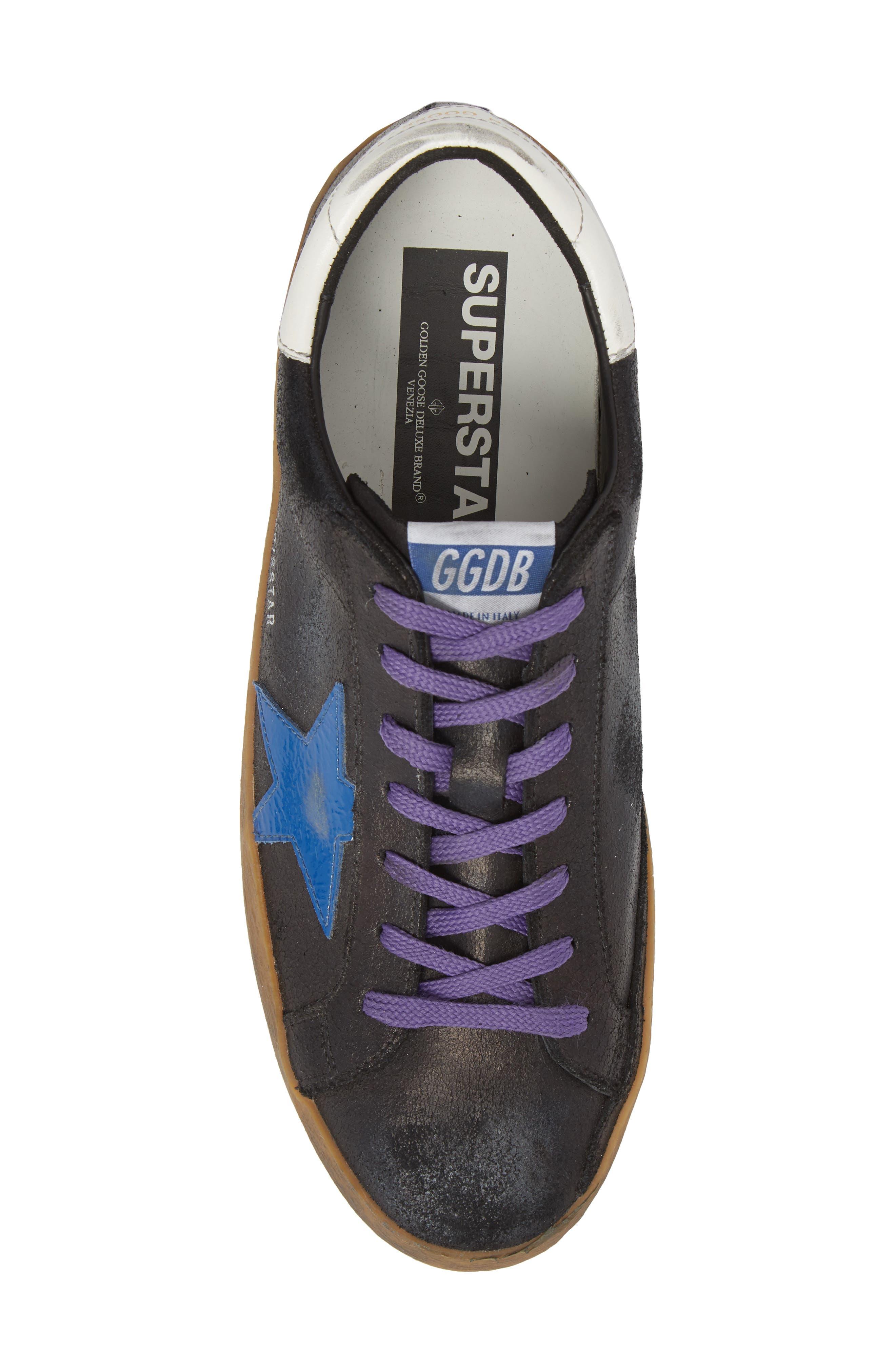 'Superstar' Sneaker,                             Alternate thumbnail 5, color,                             BLACK CRACK-BLUE STAR