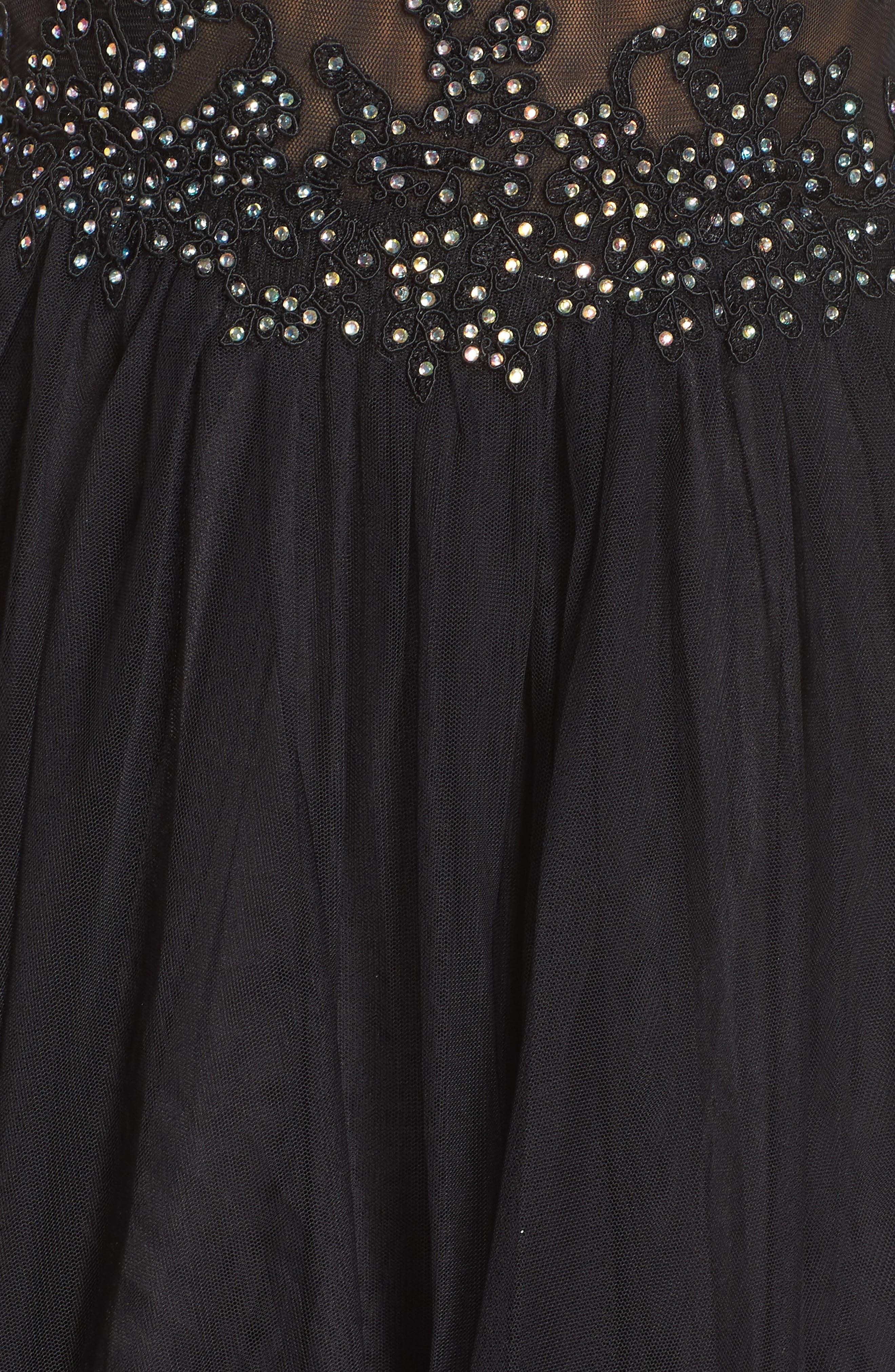 Halter Neck Appliqué Mesh Party Dress,                             Alternate thumbnail 6, color,                             BLACK