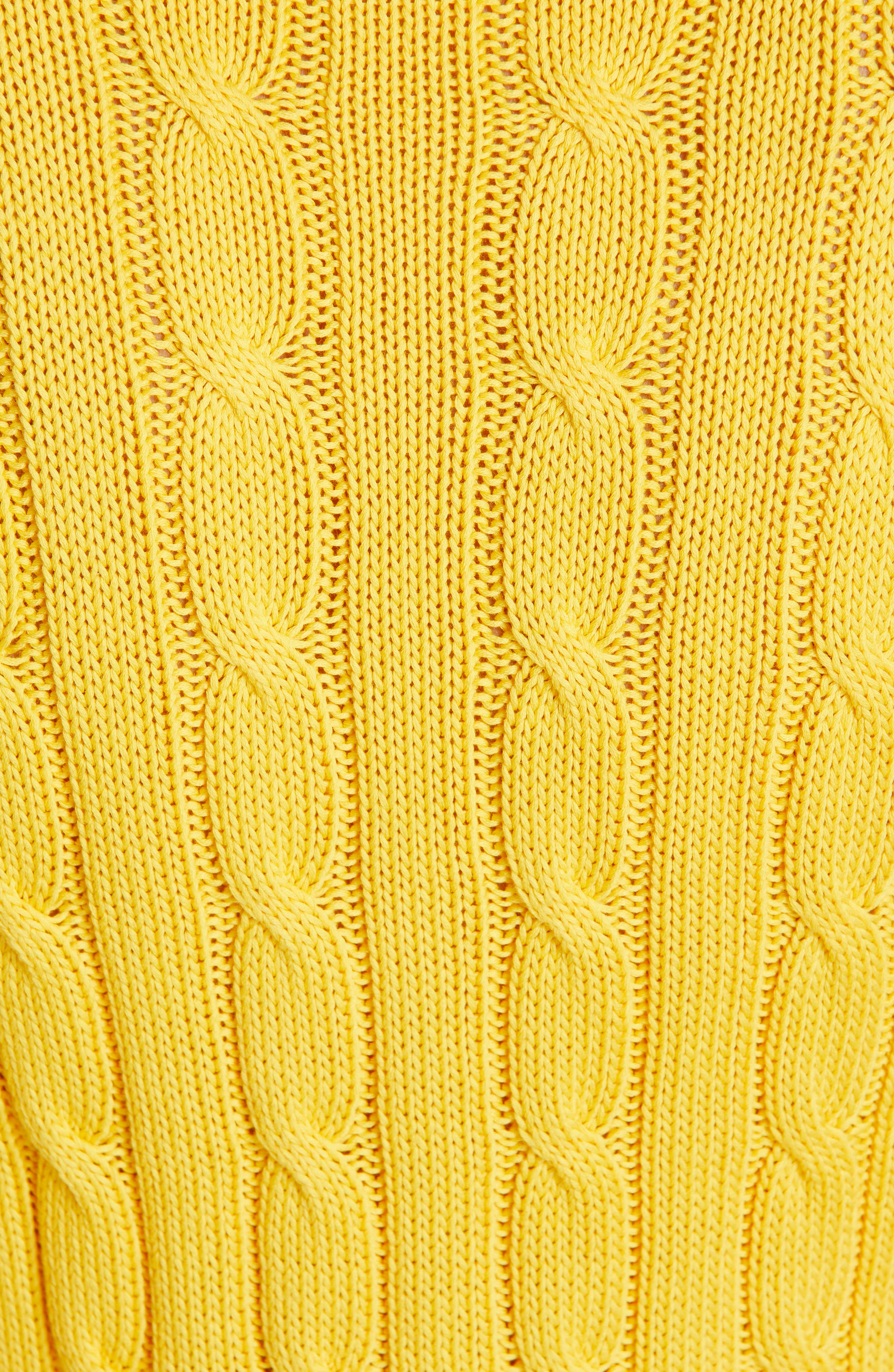 Cable Knit Cotton Sweater,                             Alternate thumbnail 5, color,                             GOLD