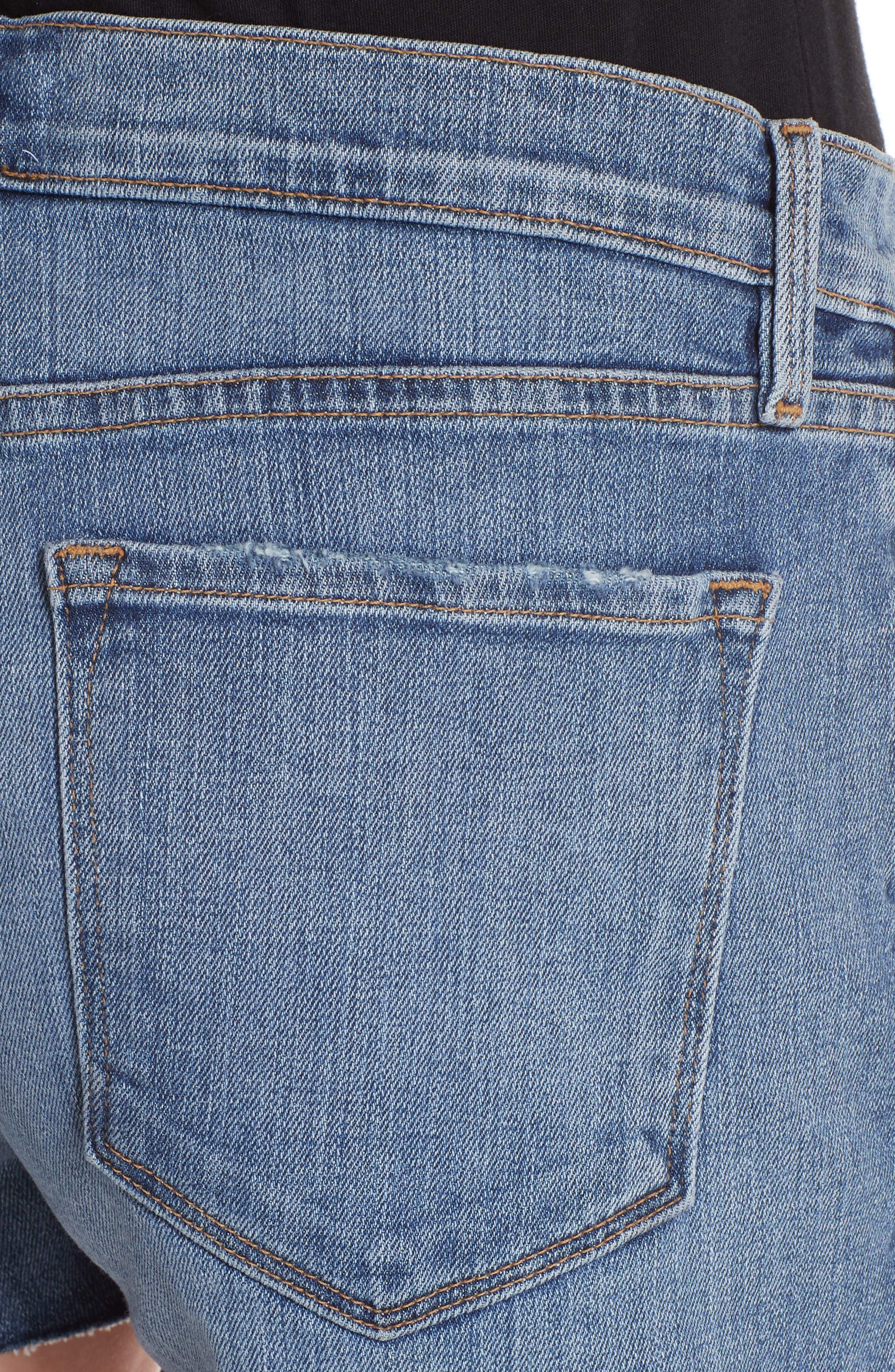 Le Cutoff Center Seam Denim Shorts,                             Alternate thumbnail 4, color,                             420