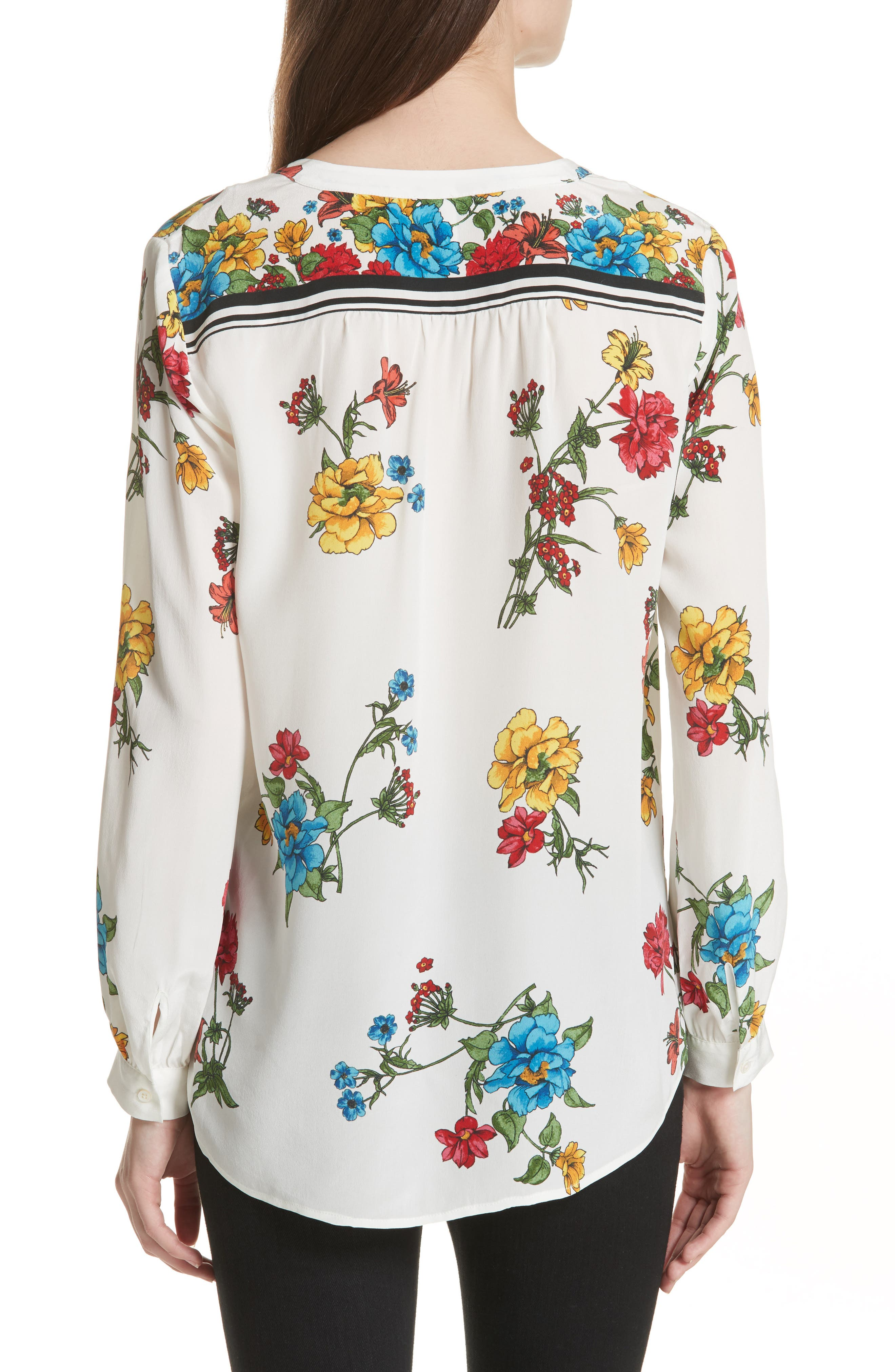 Yaritza B Floral Silk Top,                             Alternate thumbnail 2, color,                             114