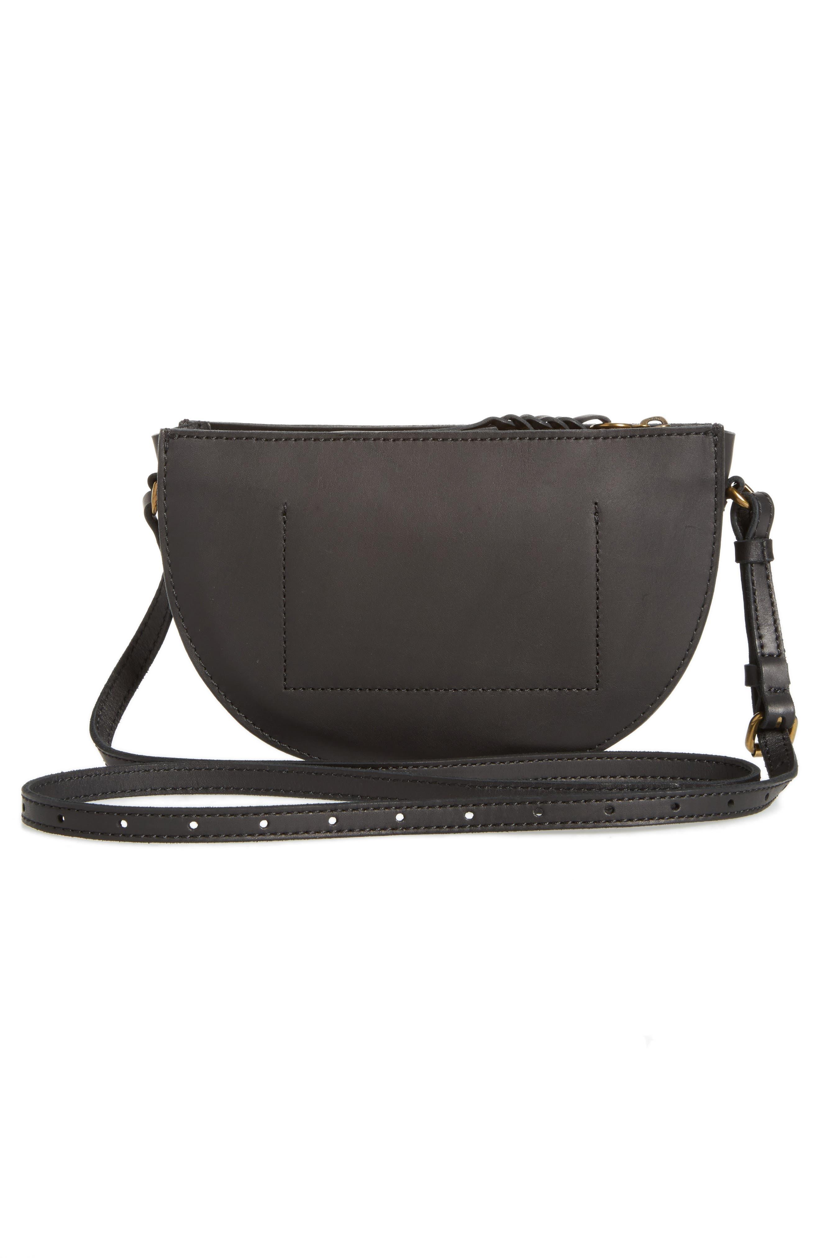 Juniper Vachetta Leather Half Moon Crossbody Bag,                             Alternate thumbnail 3, color,                             001