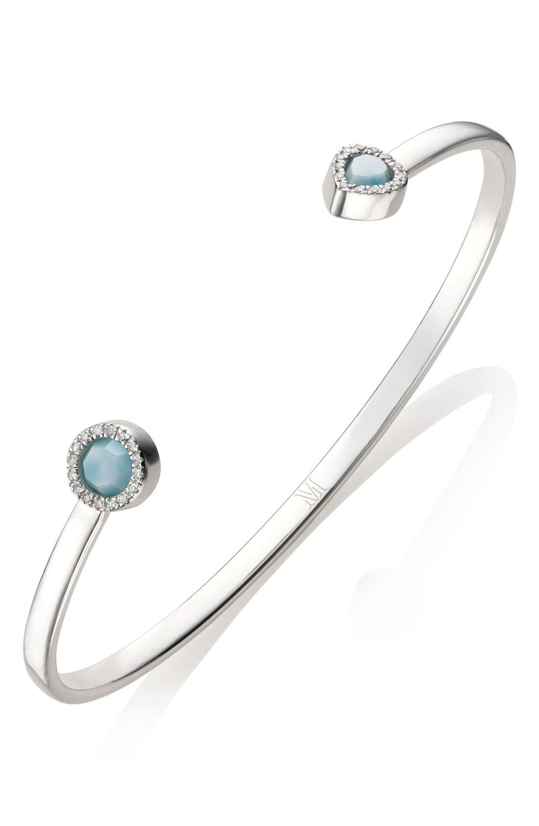 Naida Thin Diamond Cuff,                             Alternate thumbnail 4, color,                             SILVER/ DIAMOND / LARIMAR