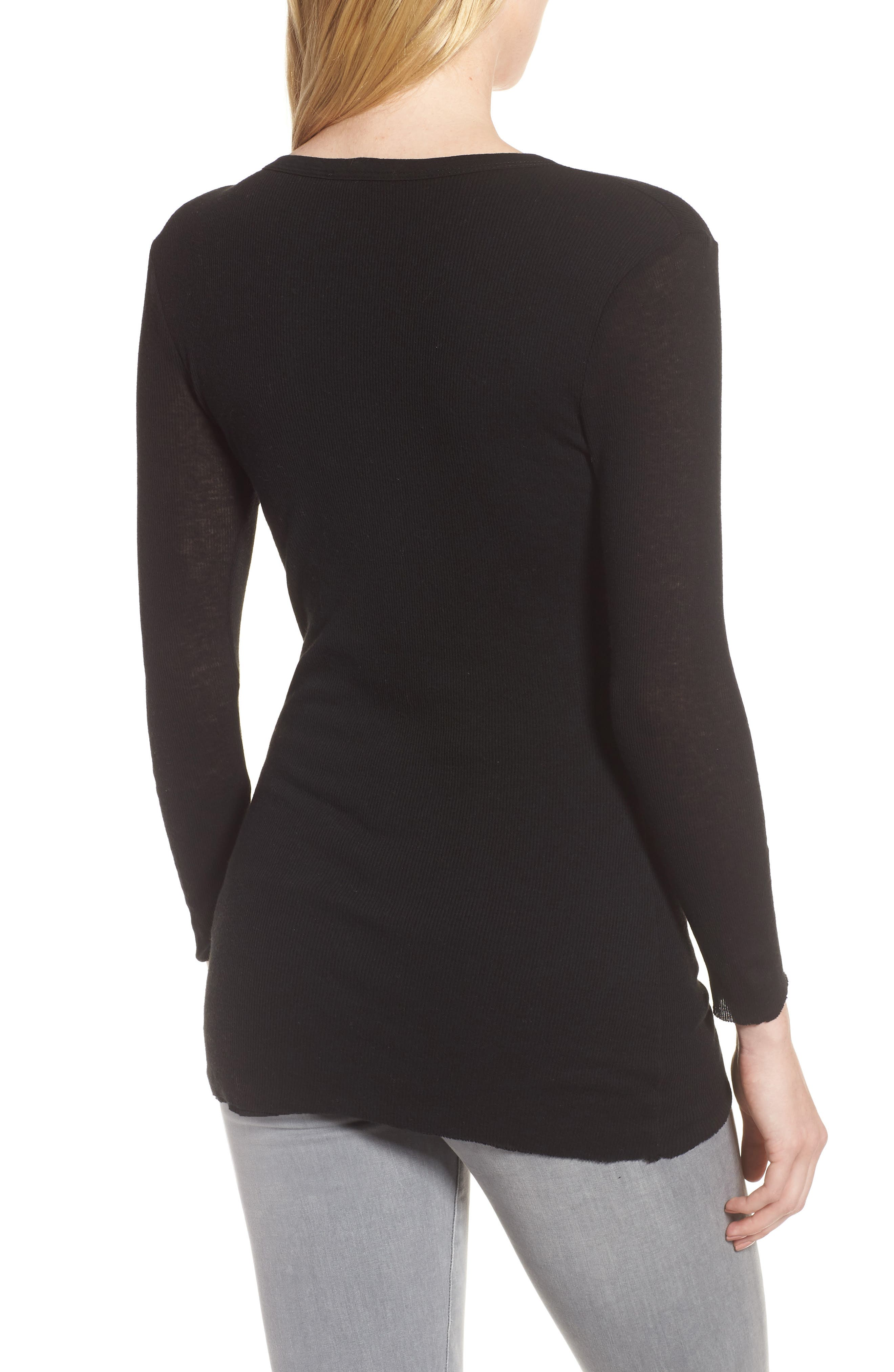 Ribbed Cotton & Cashmere Henley,                             Alternate thumbnail 2, color,                             001