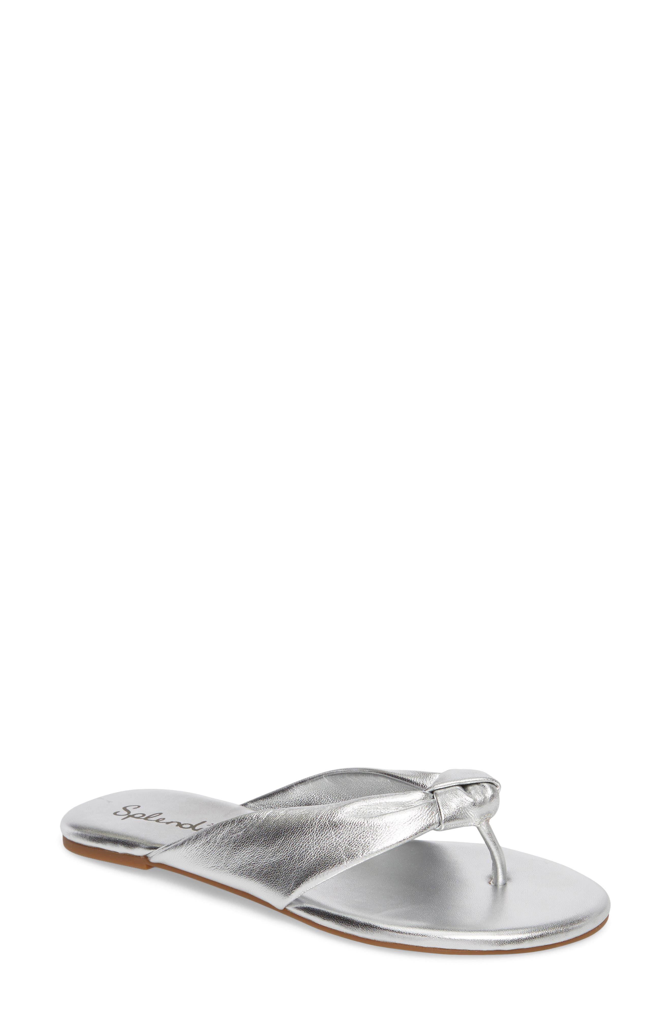Bridgette Knotted Flip Flop,                         Main,                         color, SILVER METALLIC LEATHER