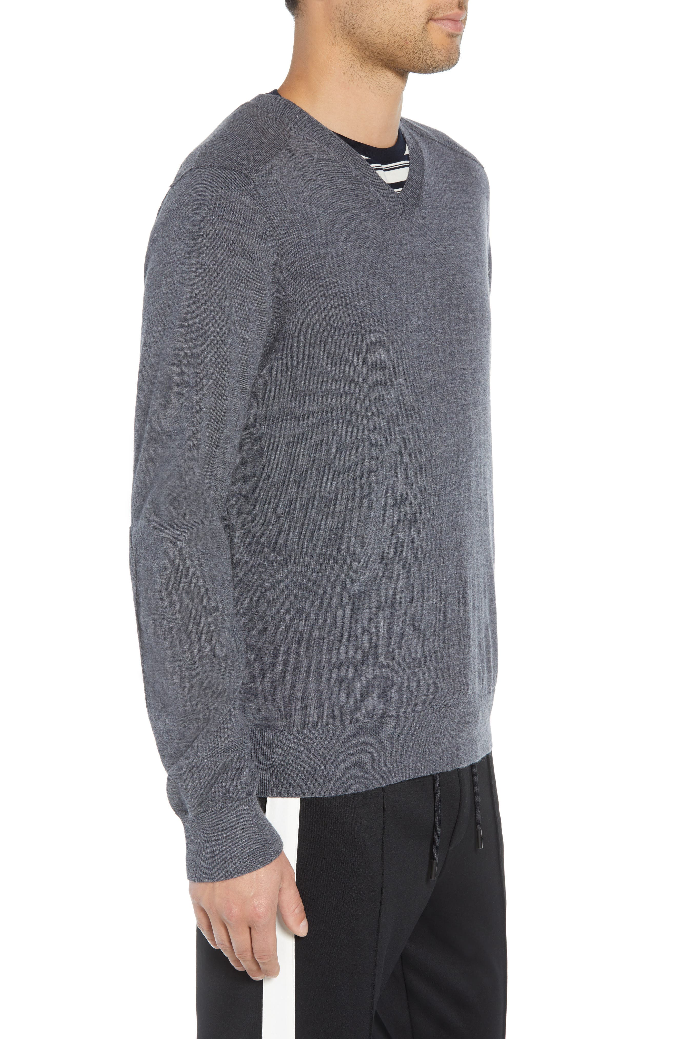 Regular Fit Elbow Patch Merino Wool Sweater,                             Alternate thumbnail 3, color,                             020