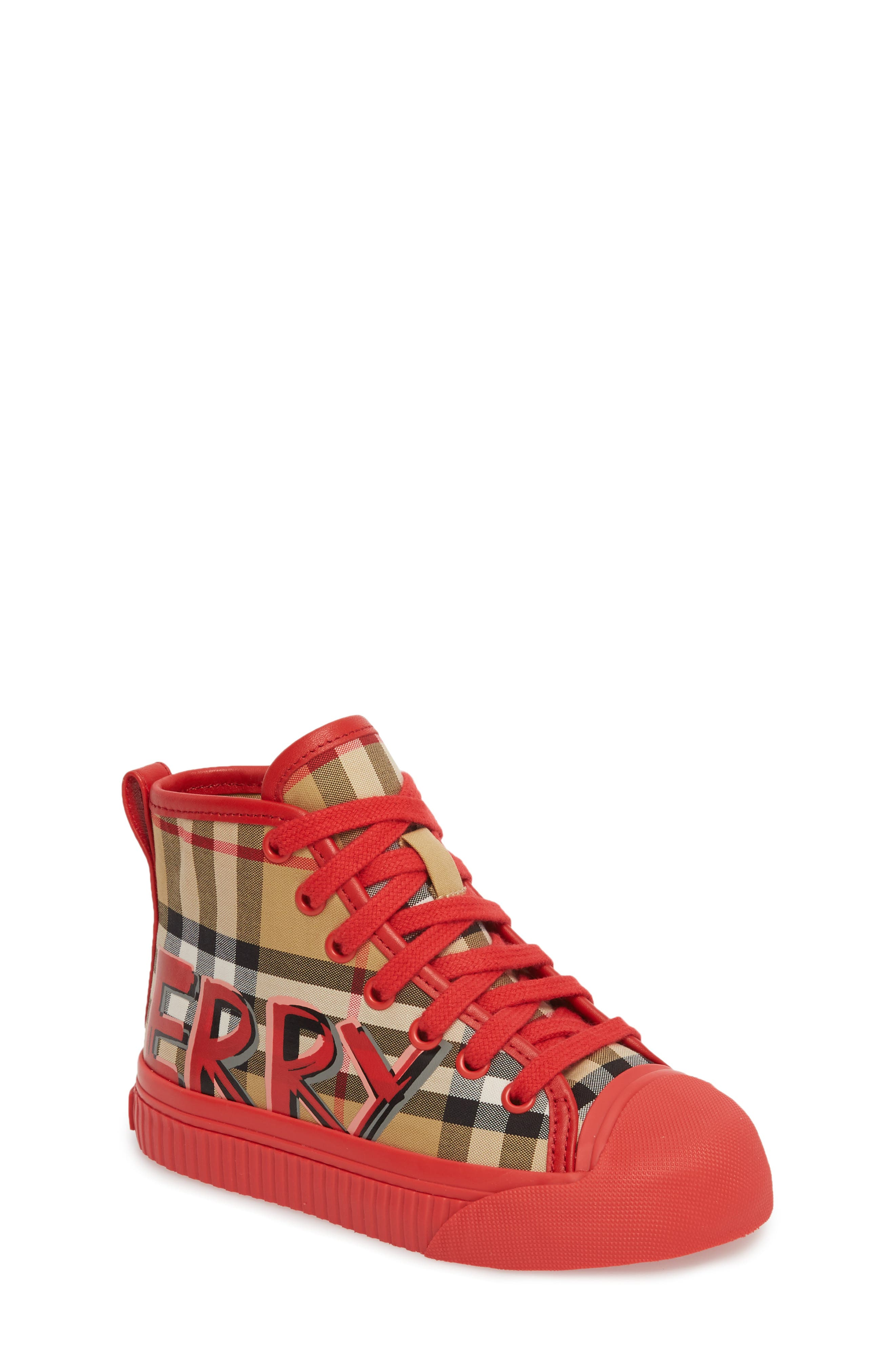Mini Kingly High Top Sneaker,                             Main thumbnail 1, color,                             BRIGHT RED