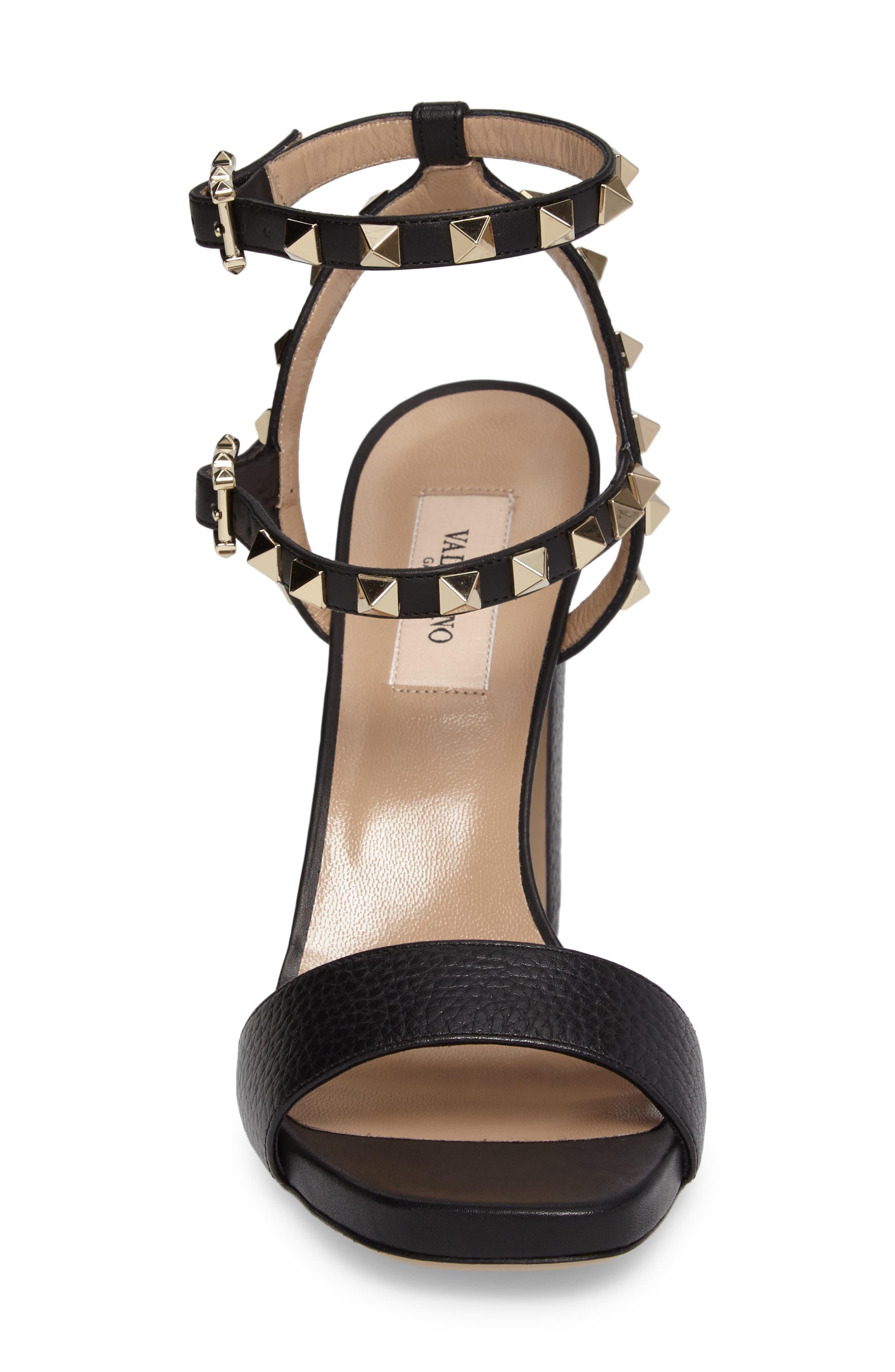 Rockstud Ankle Strap Sandal,                             Alternate thumbnail 4, color,                             BLACK