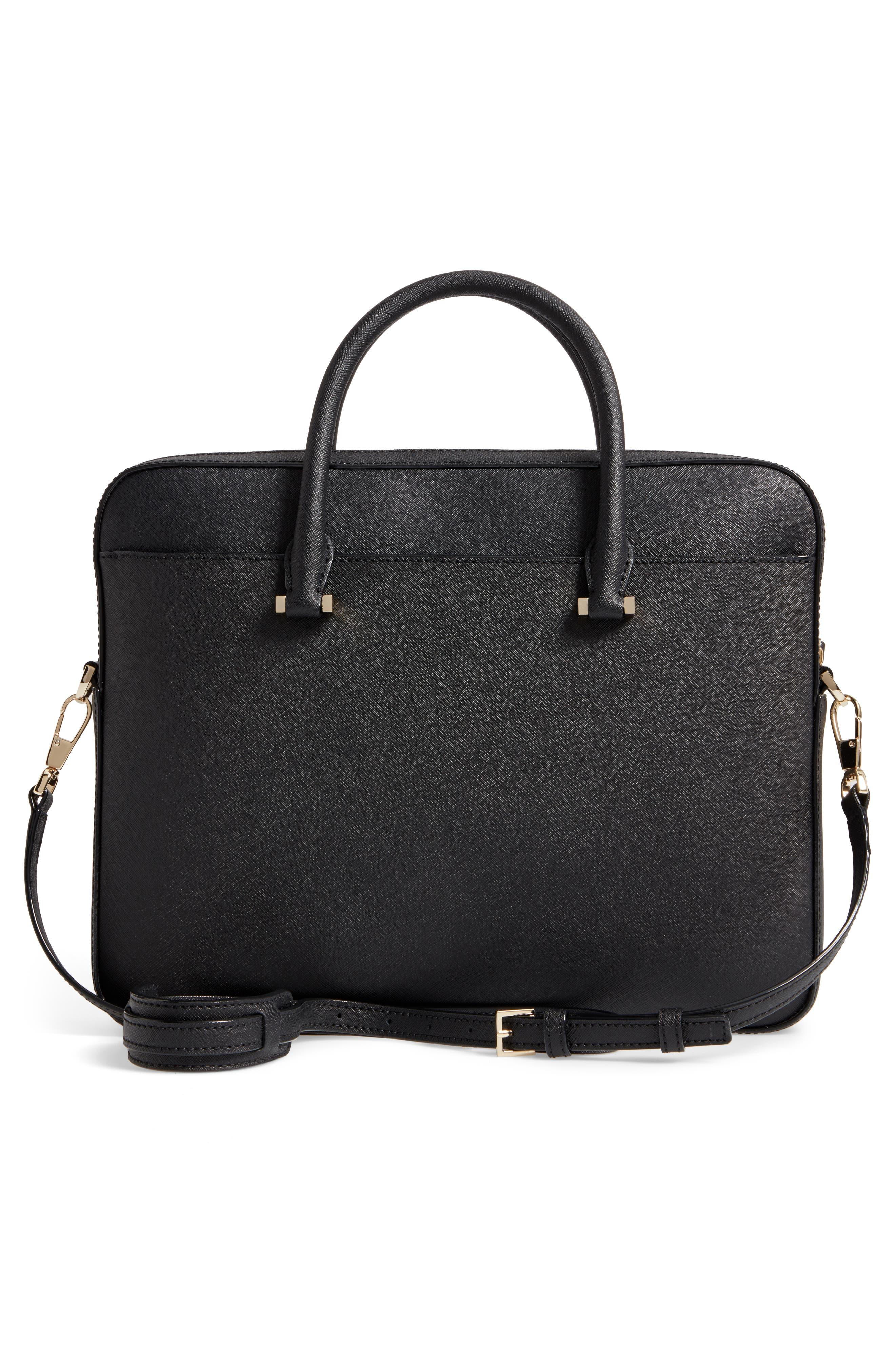 saffiano leather laptop bag,                             Alternate thumbnail 3, color,                             BLACK