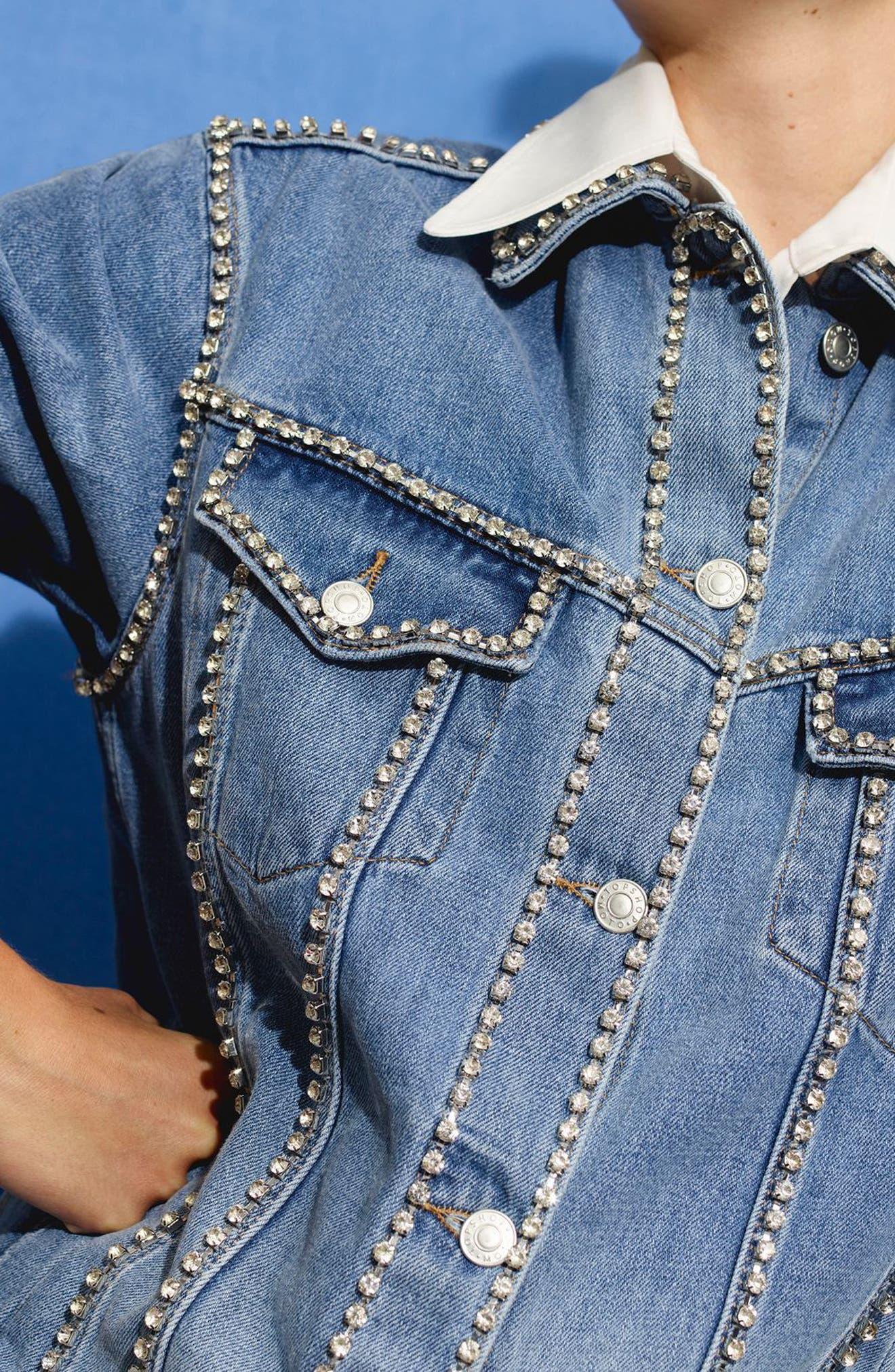Oversize Crystal Seam Denim Jacket,                             Alternate thumbnail 10, color,                             400