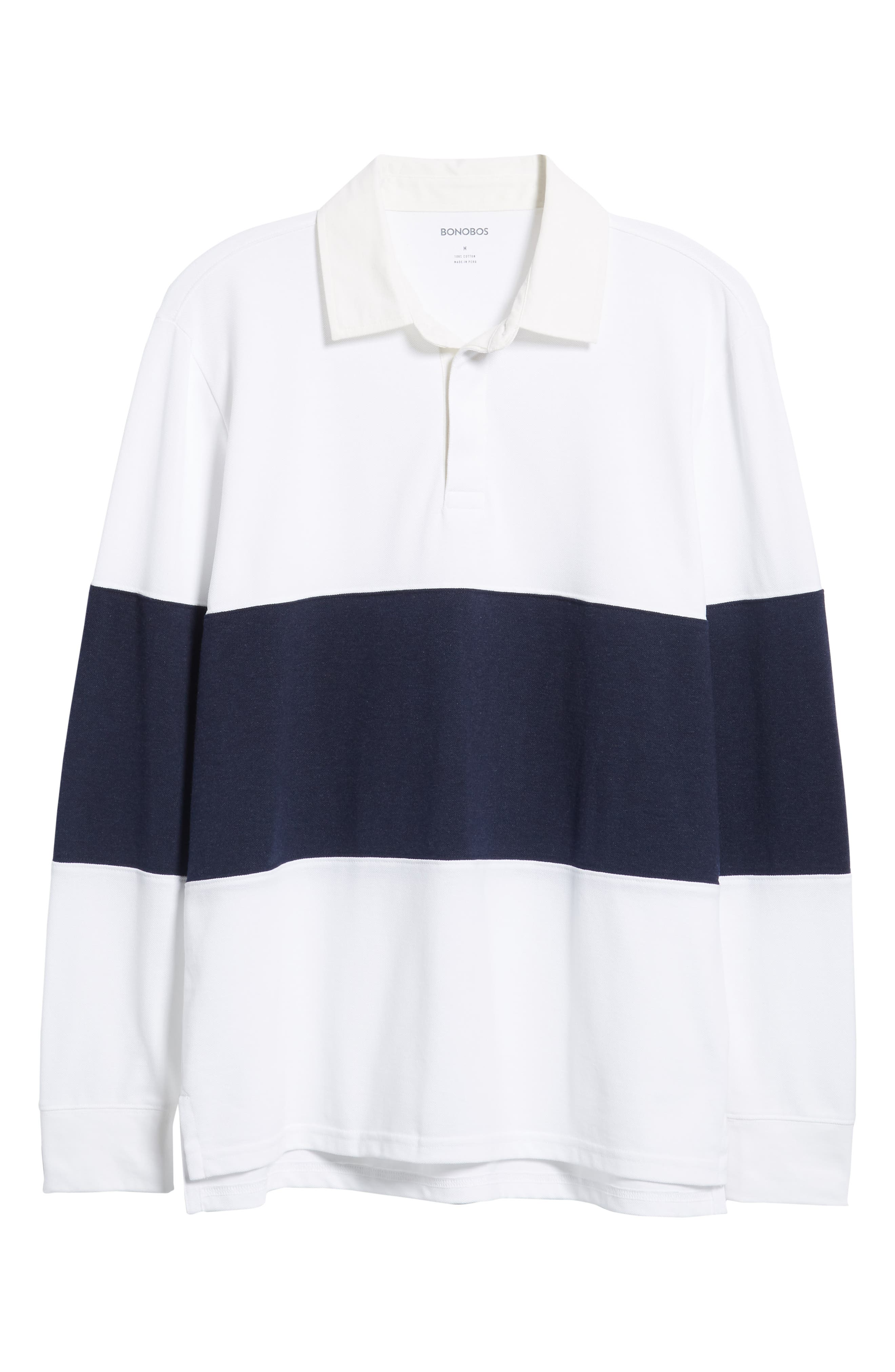 Regular Fit Rugby Piqué Polo,                             Alternate thumbnail 6, color,                             NAVY BLAZER WHITE