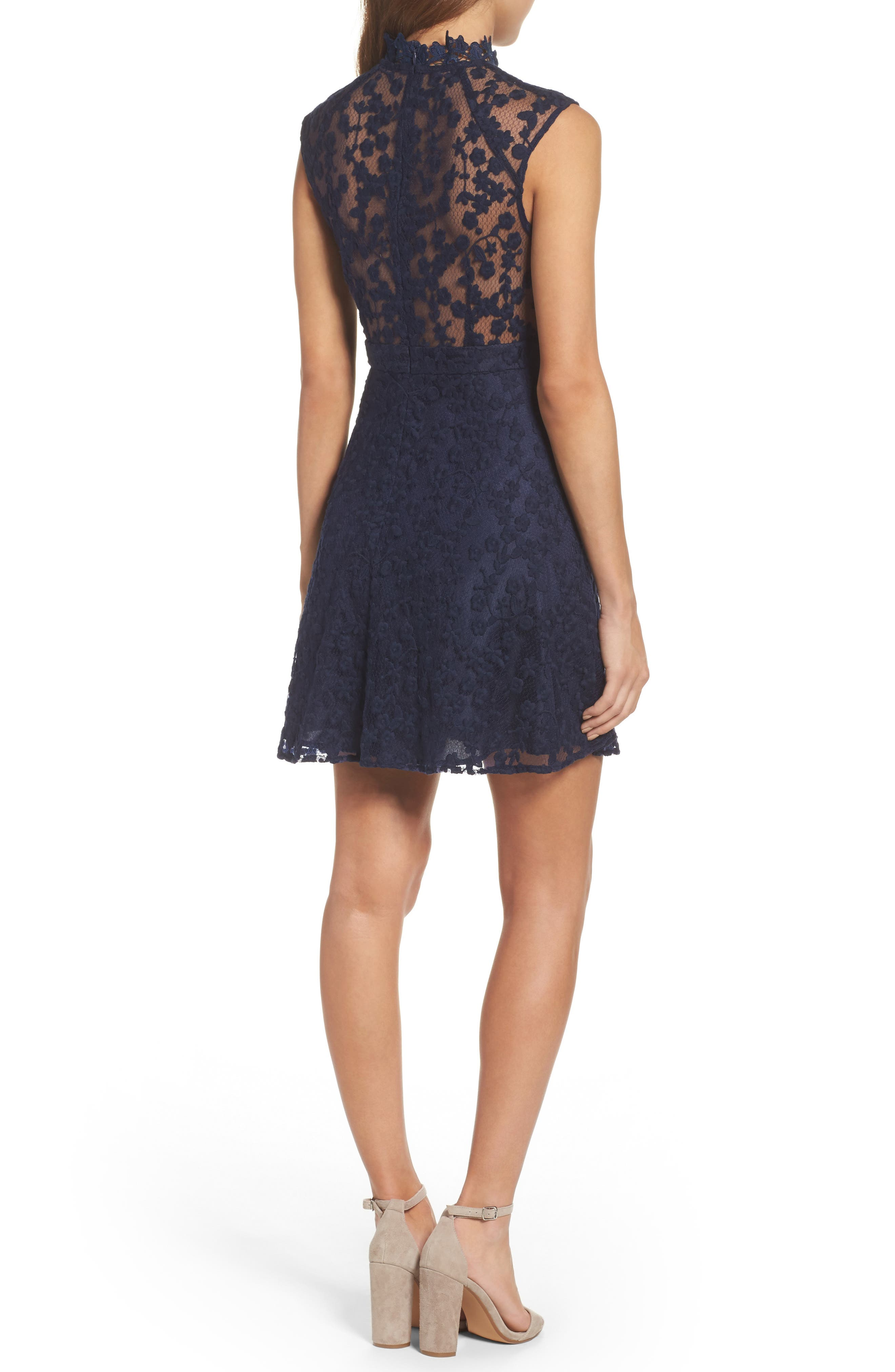 Embroidered Mesh Fit & Flare Dress,                             Alternate thumbnail 2, color,                             410