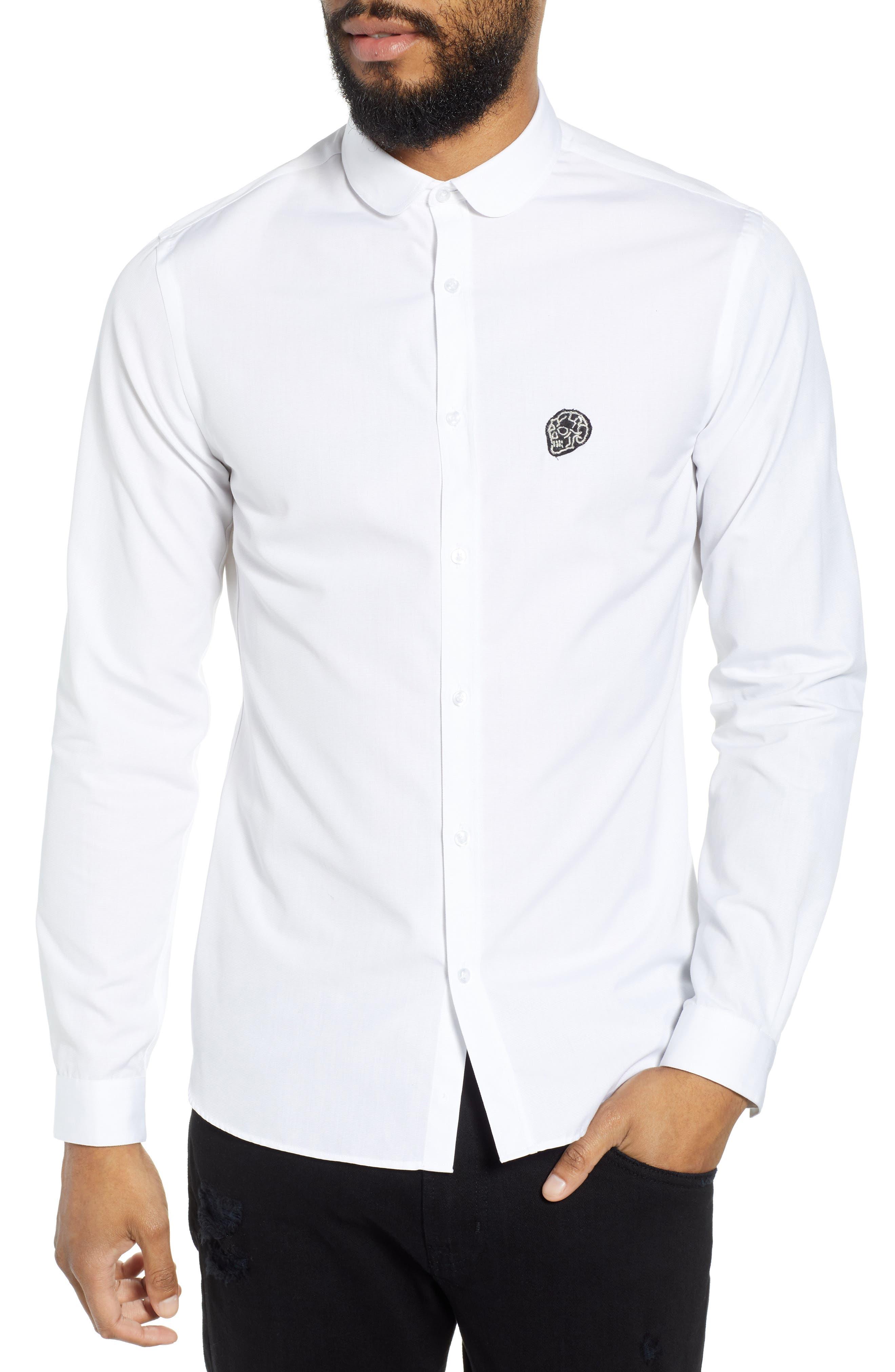Slim Fit Skull Appliqué Sport Shirt,                         Main,                         color, 100