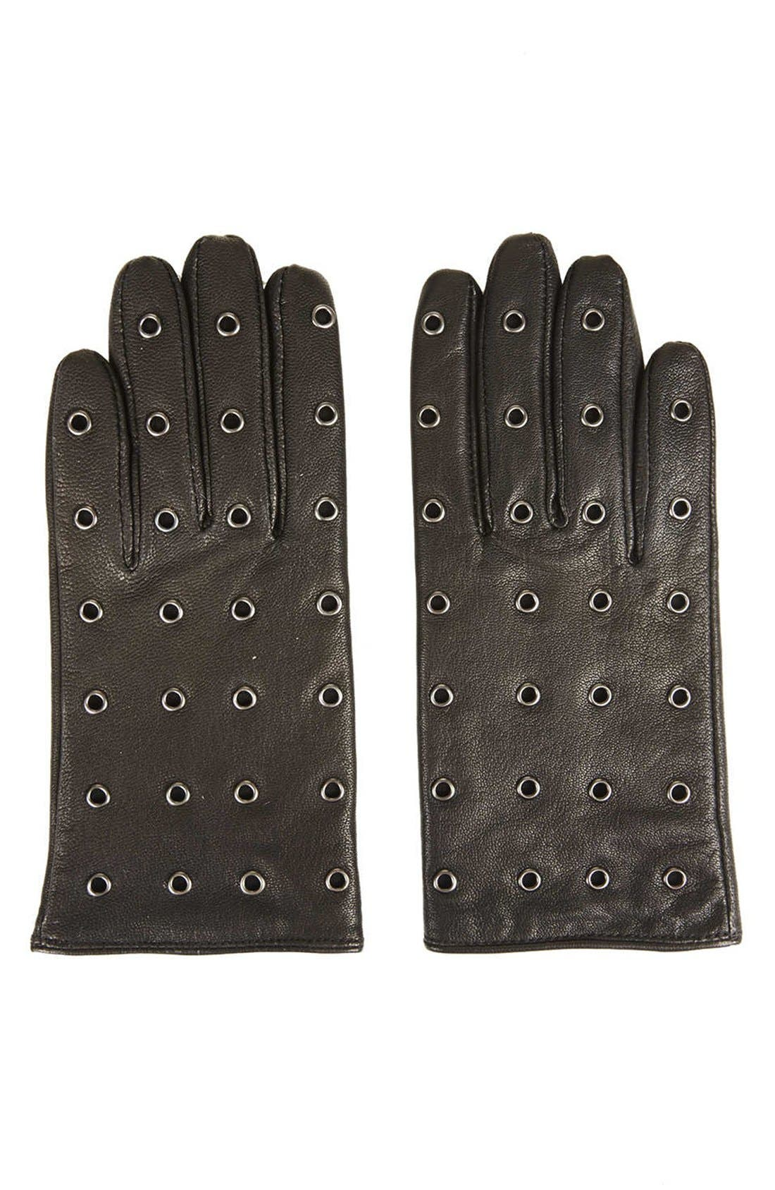 TOPSHOP,                             Metal Eyelet Leather Gloves,                             Main thumbnail 1, color,                             001