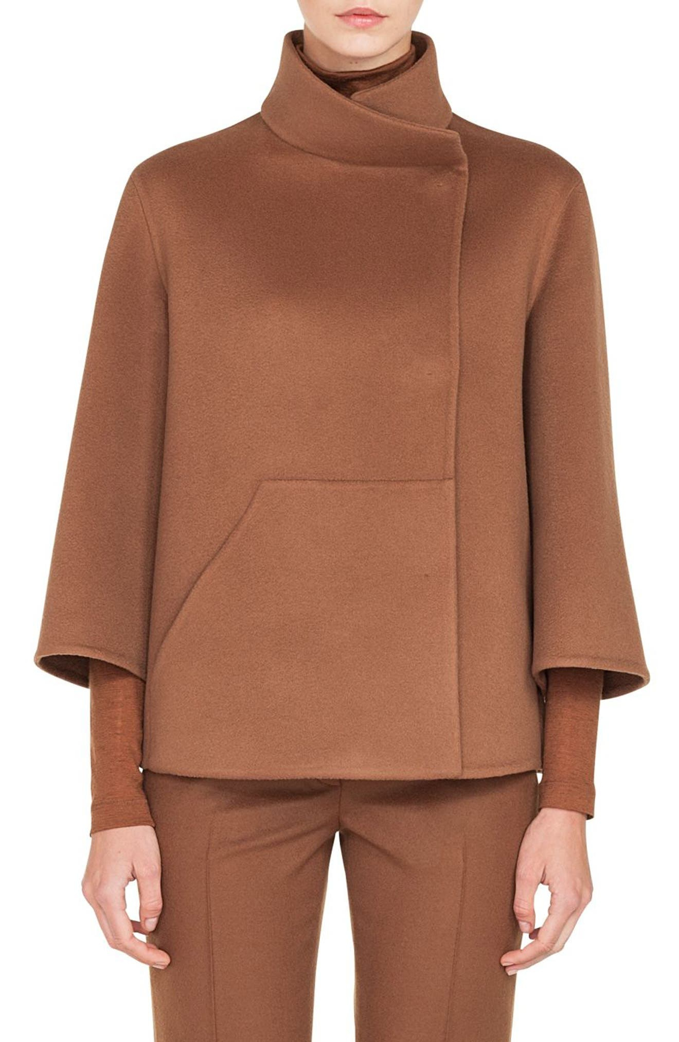 Rafael Stand-Collar Bracelet-Sleeve Cashmere Topper Jacket in Wood