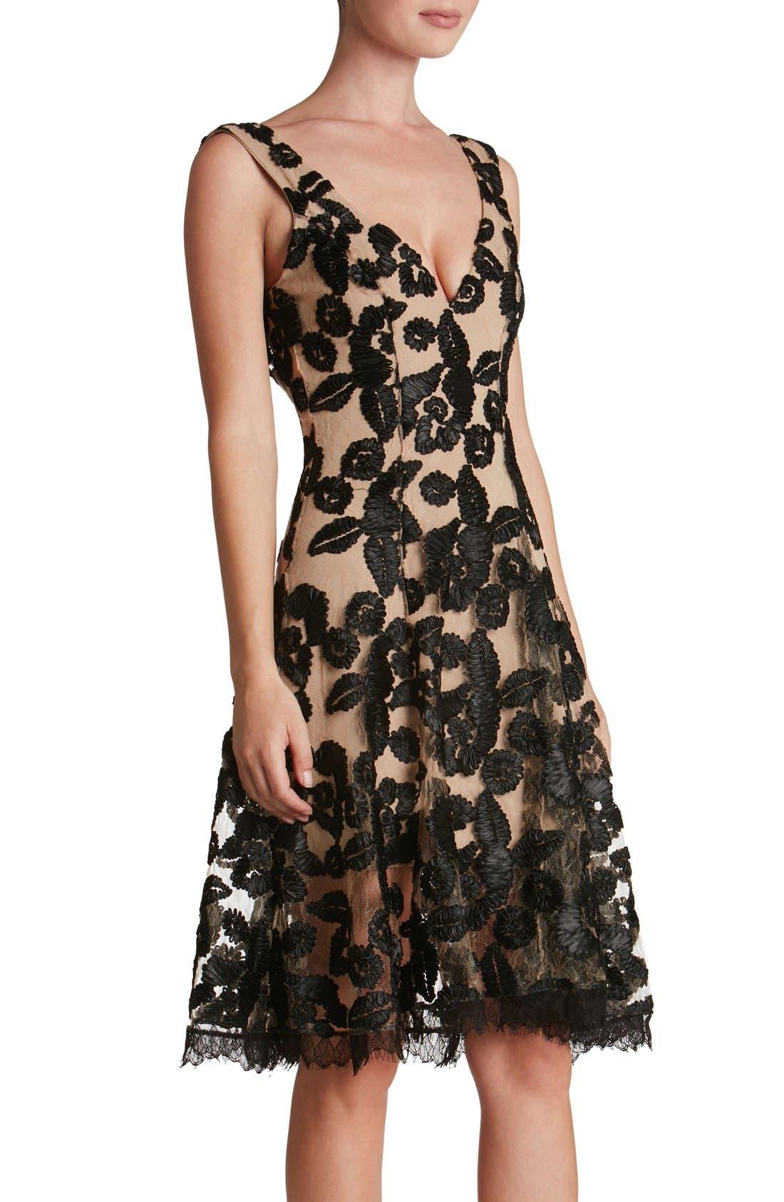 Maya Lace Fit & Flare Dress,                             Alternate thumbnail 5, color,                             002