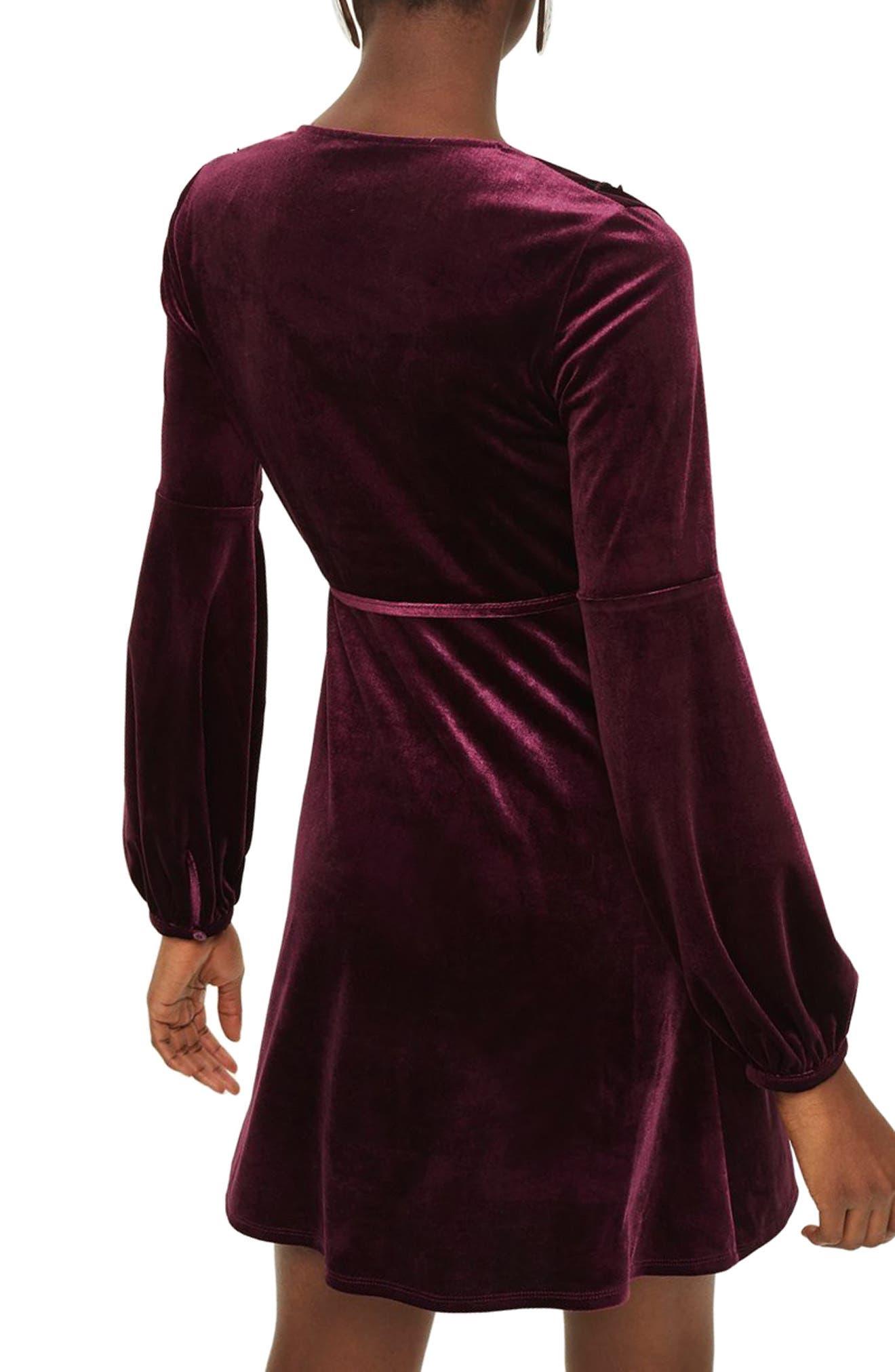 Embroidered Velvet Wrap Dress,                             Alternate thumbnail 2, color,                             930