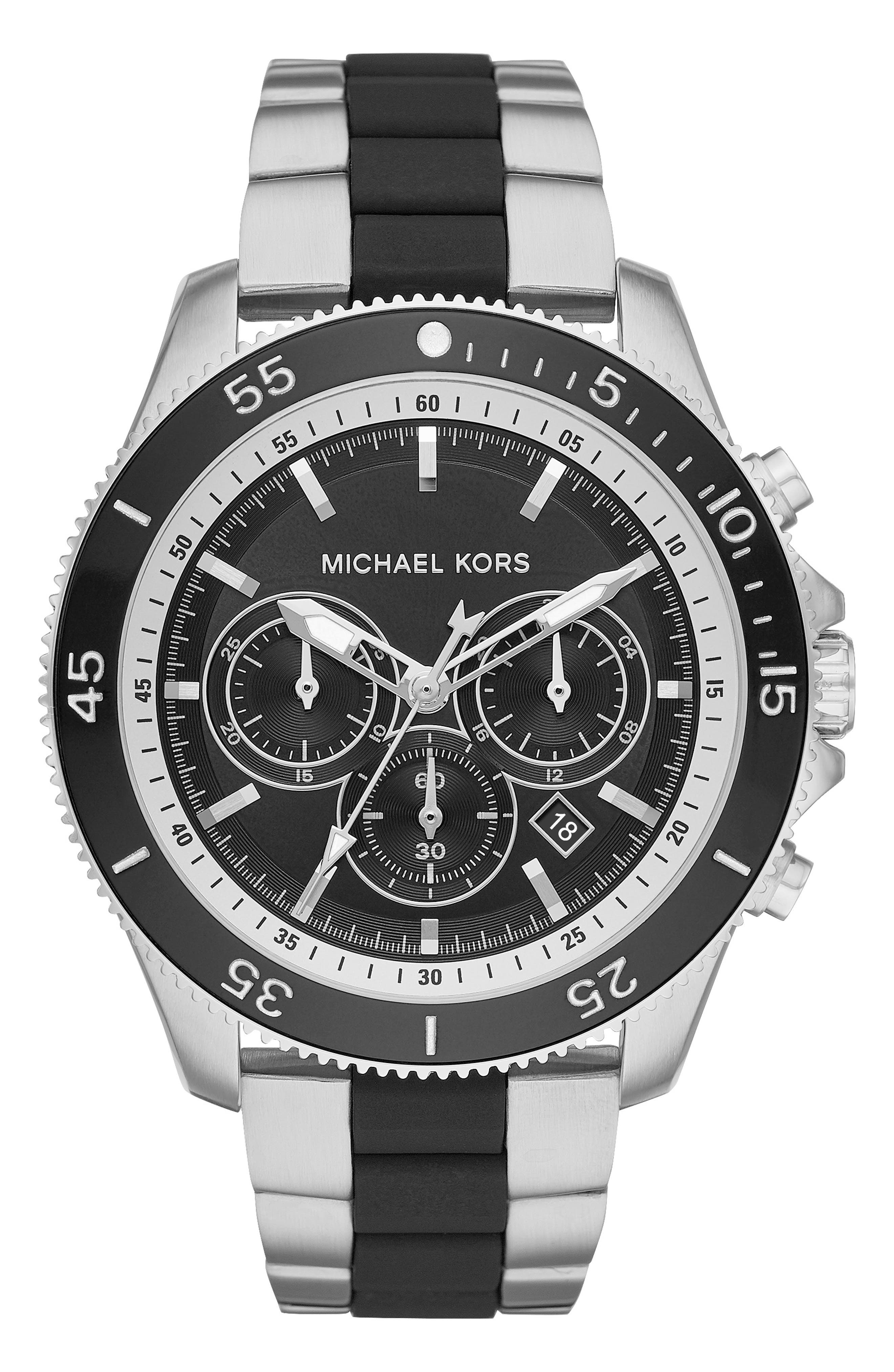 MICHAEL KORS,                             Theroux Silicone Bracelet Watch, 45mm,                             Main thumbnail 1, color,                             SILVER/ BLACK SUNRAY/ SILVER