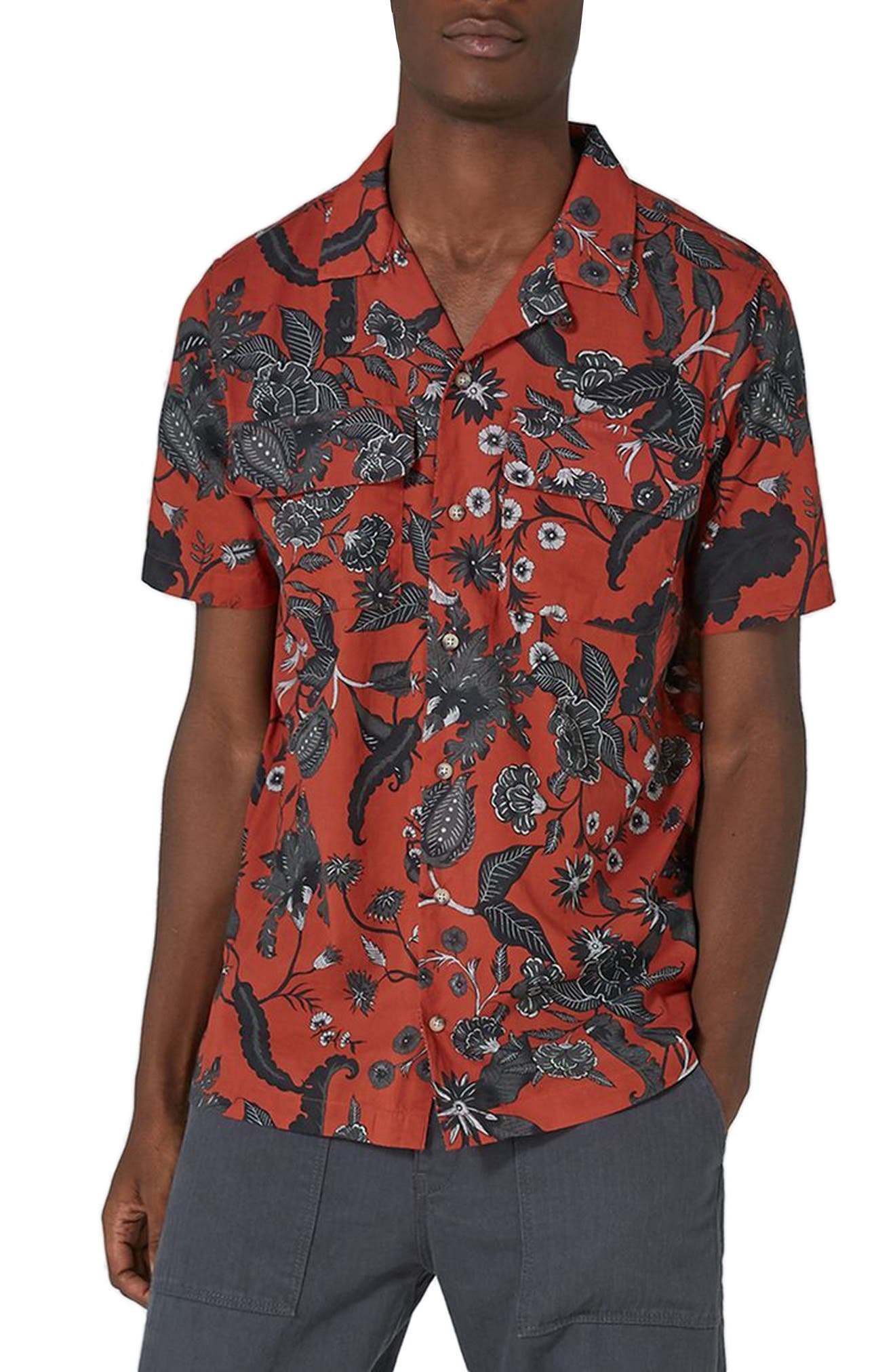 Red Floral Revere Collar Shirt,                             Main thumbnail 1, color,