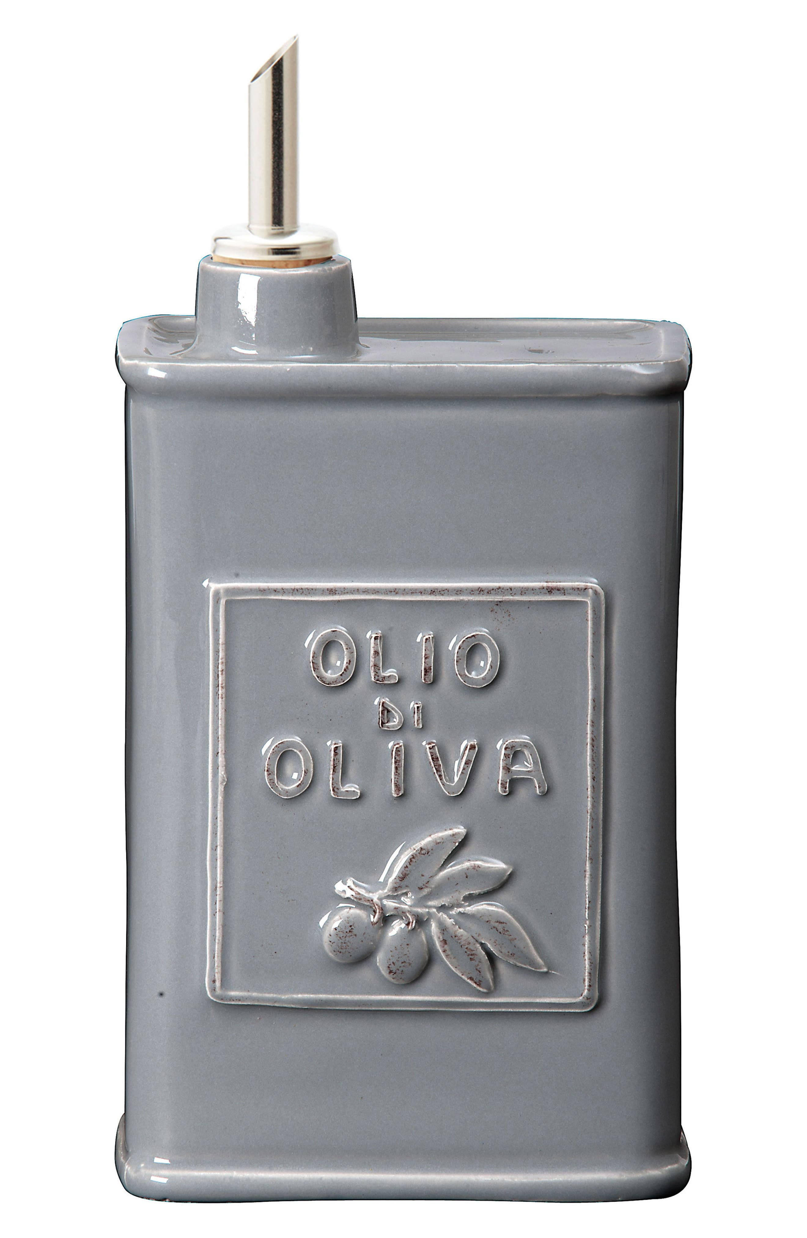 Lastra Stoneware Olive Oil Container,                             Main thumbnail 1, color,                             GRAY