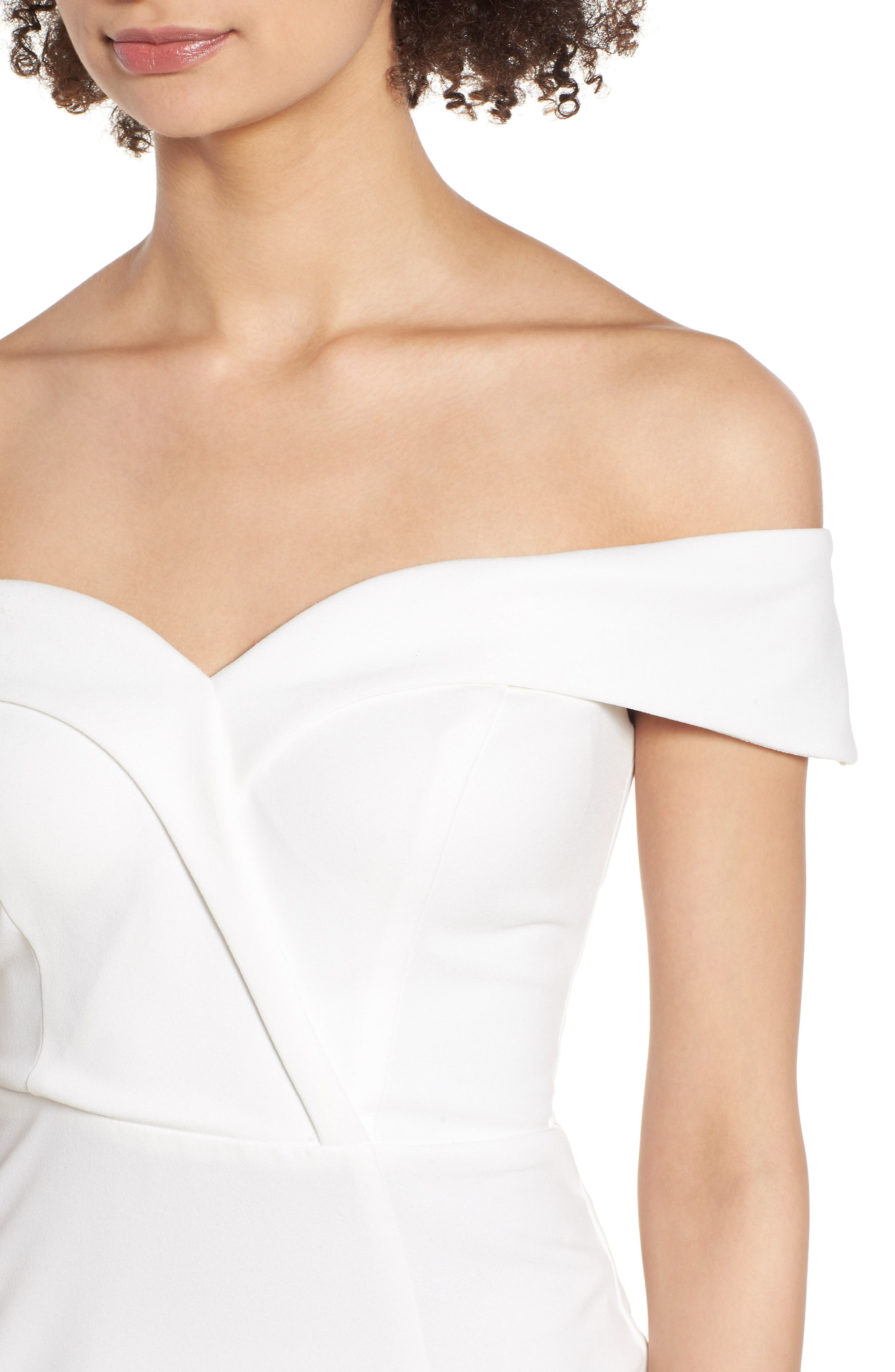 Off the Shoulder Body-Con Dress,                             Alternate thumbnail 4, color,                             IVORY