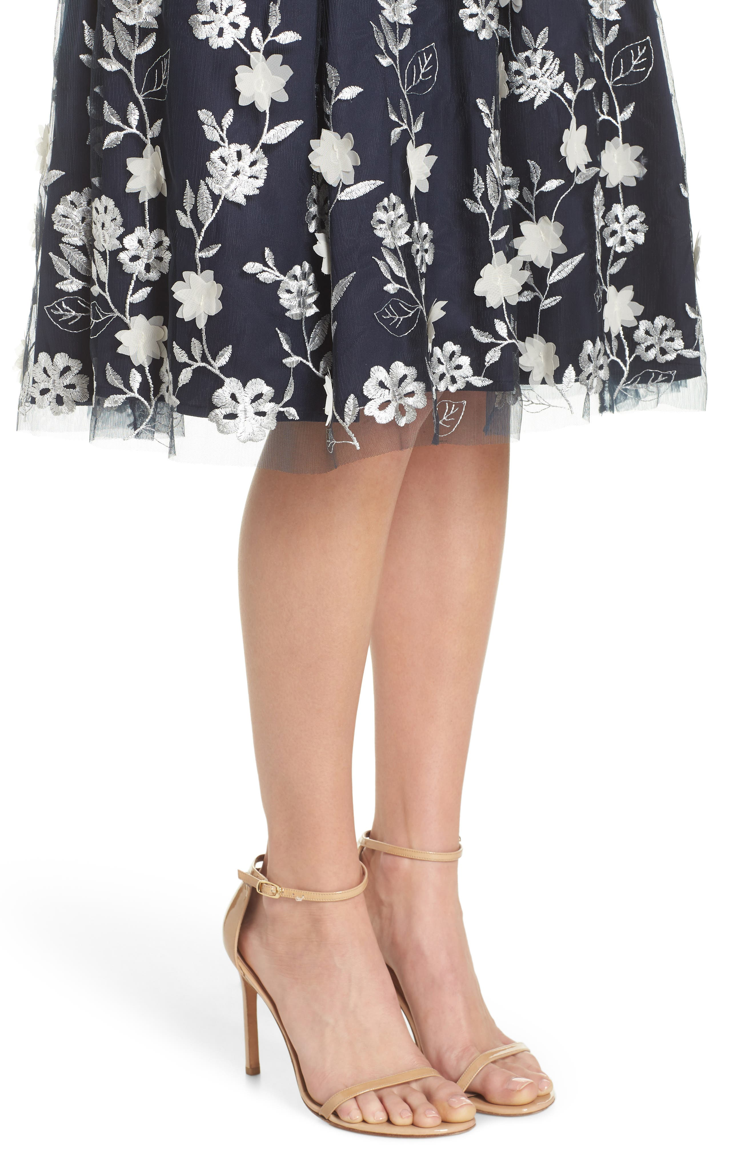 Embroidered A-Line Skirt,                             Alternate thumbnail 4, color,                             NAVY IVORY