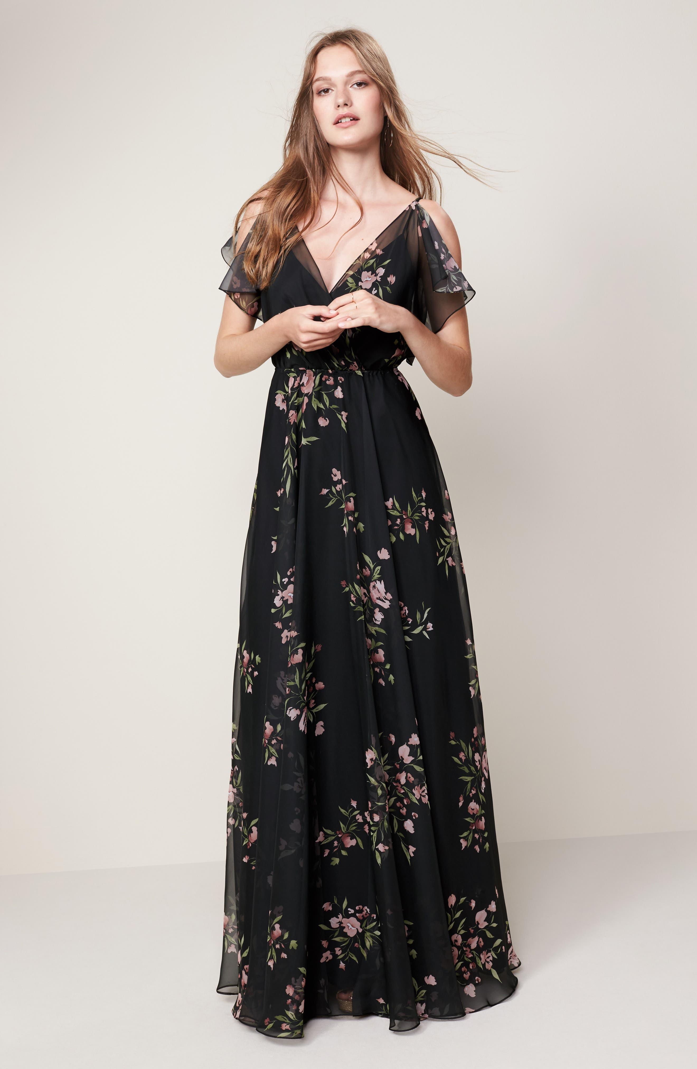 Cassie Flutter Sleeve Surplice Gown,                             Alternate thumbnail 6, color,                             001