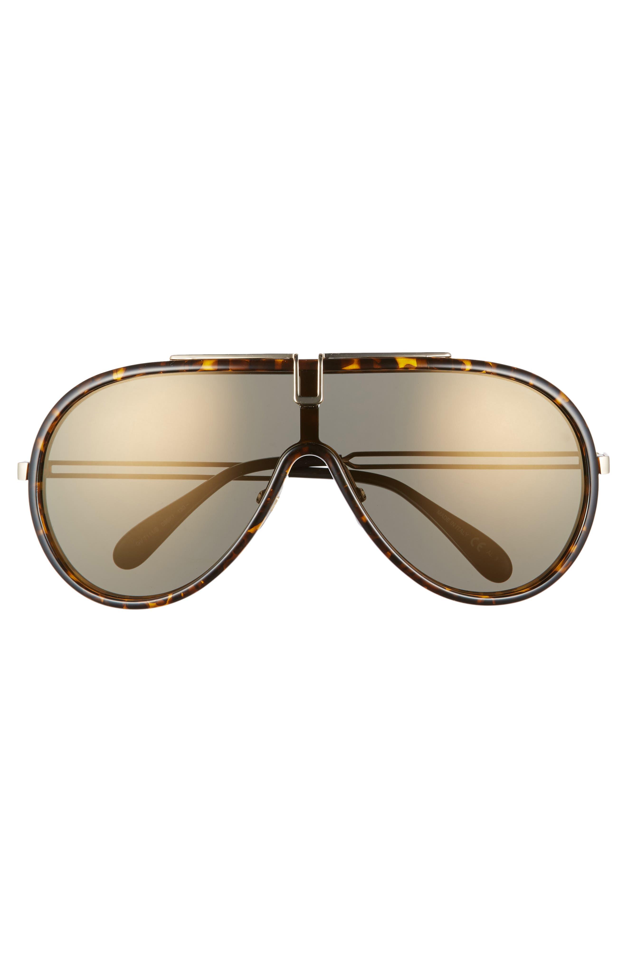 99mm Shield Sunglasses,                             Alternate thumbnail 3, color,                             DARK HAVANA