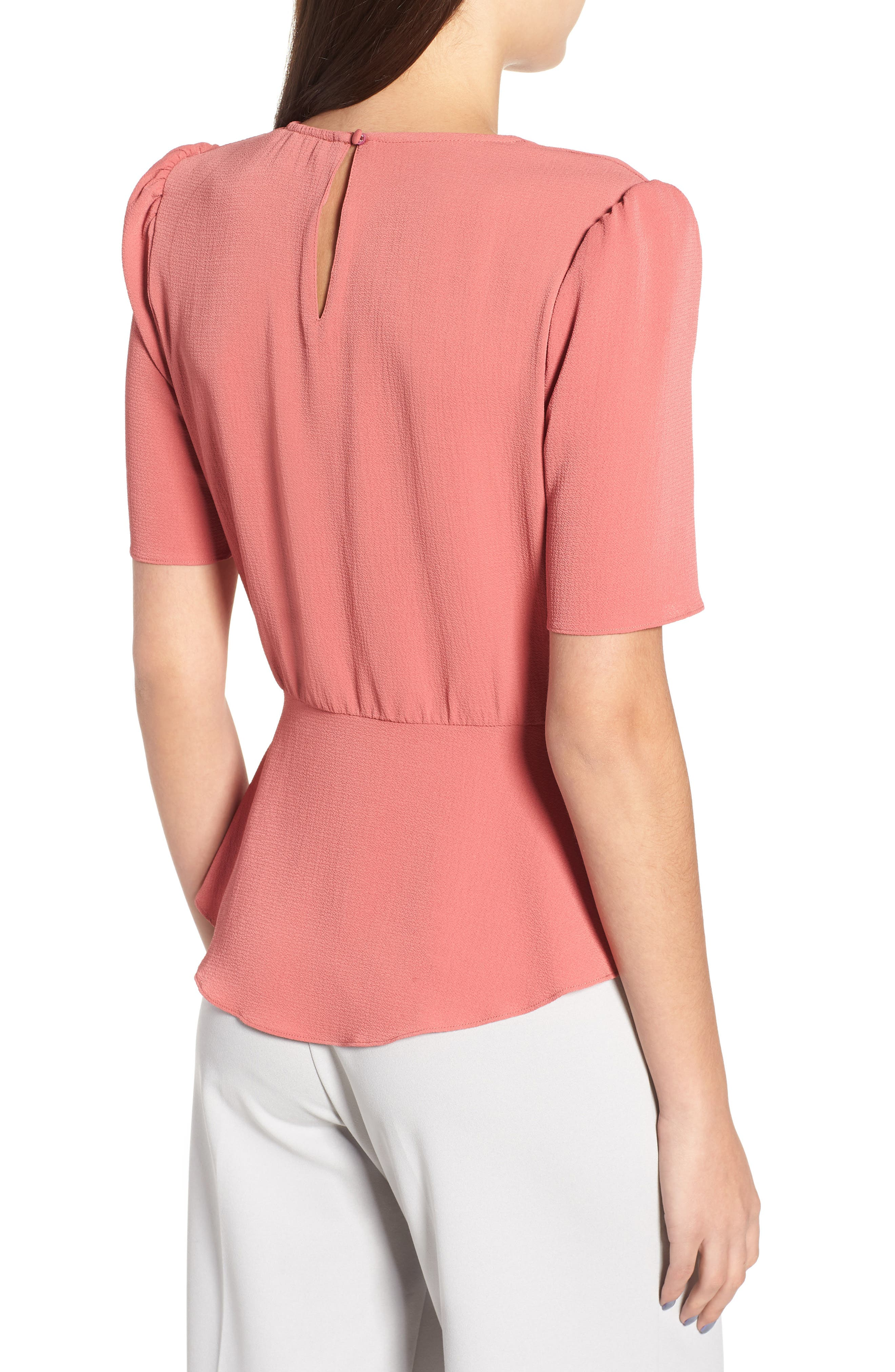 Short Sleeve Peplum Top,                             Alternate thumbnail 2, color,                             600