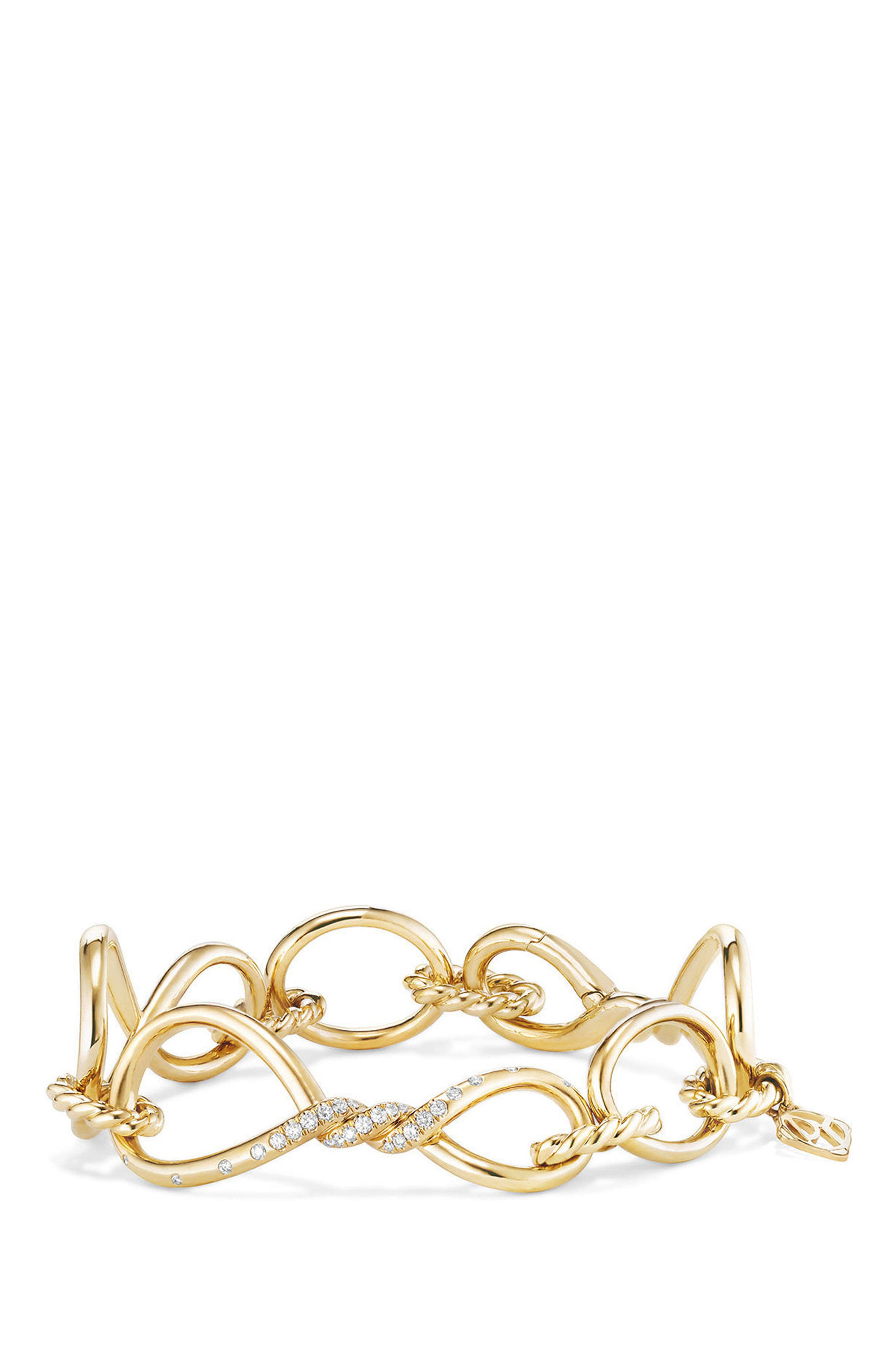 DAVID YURMAN,                             Continuance Chain Bracelet with Diamonds,                             Main thumbnail 1, color,                             YELLOW GOLD