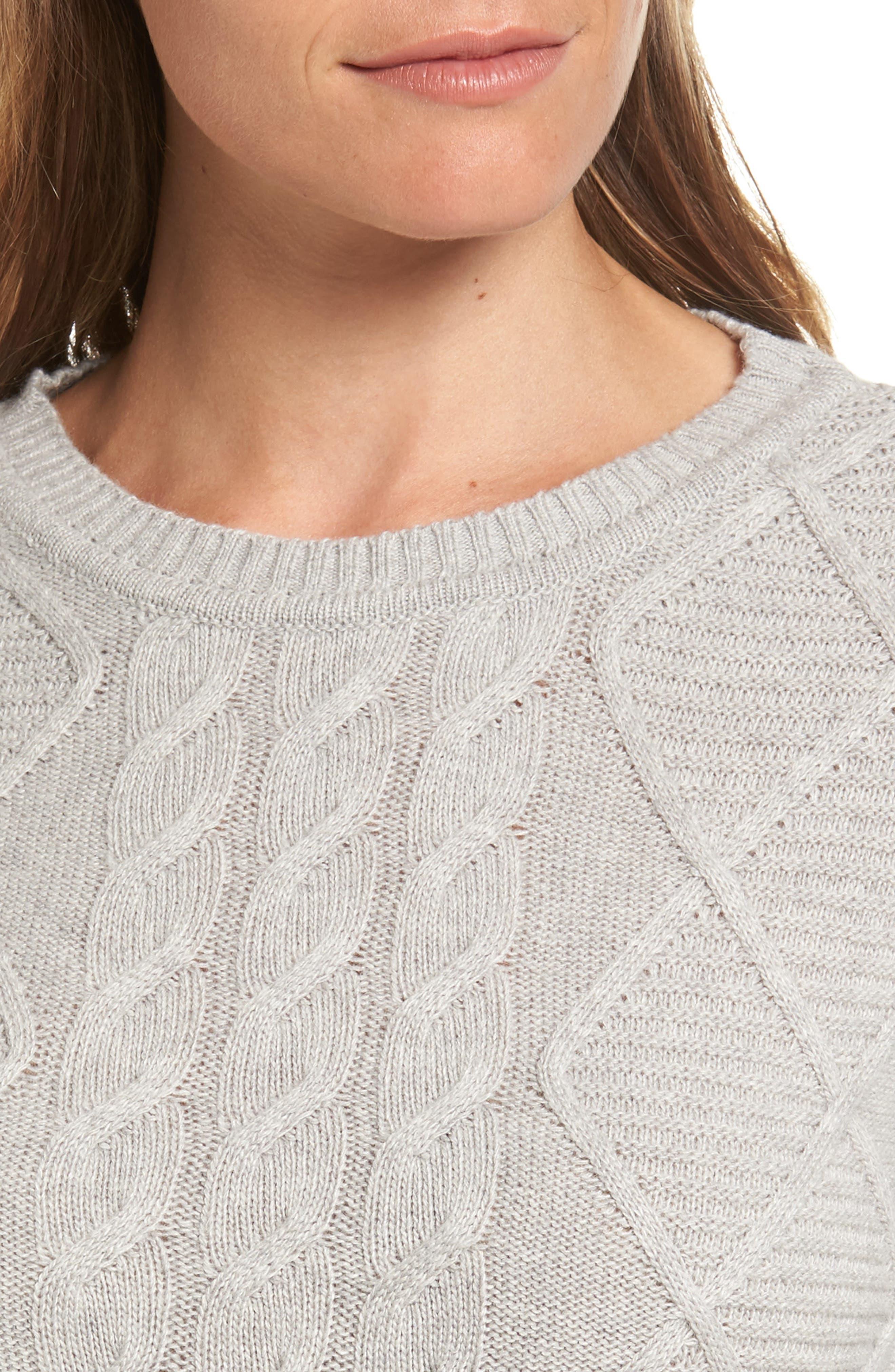 Emmanuel Cable Knit Sweater Dress,                             Alternate thumbnail 4, color,                             050