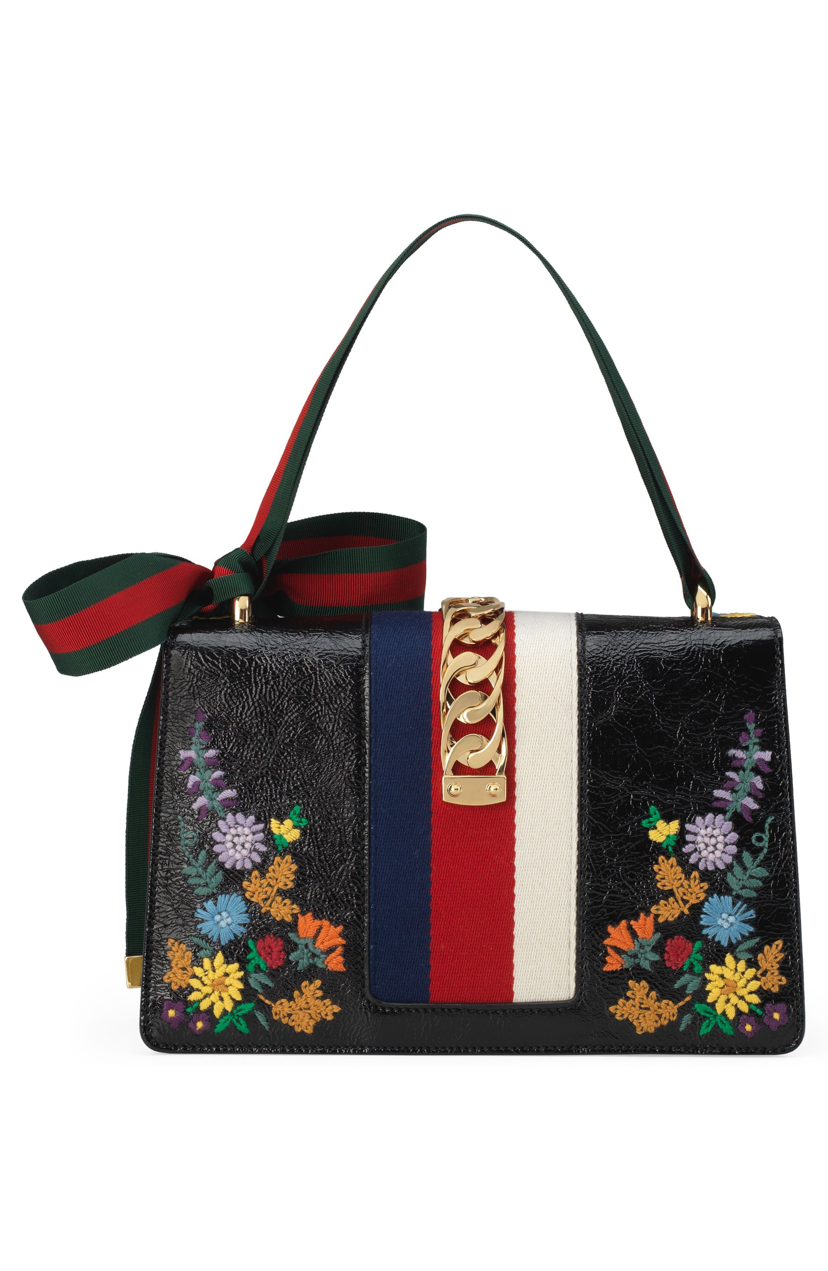 Small Sylvie Floral Embroidered Leather Top Handle Shoulder Bag,                             Alternate thumbnail 3, color,                             NERO MULTI