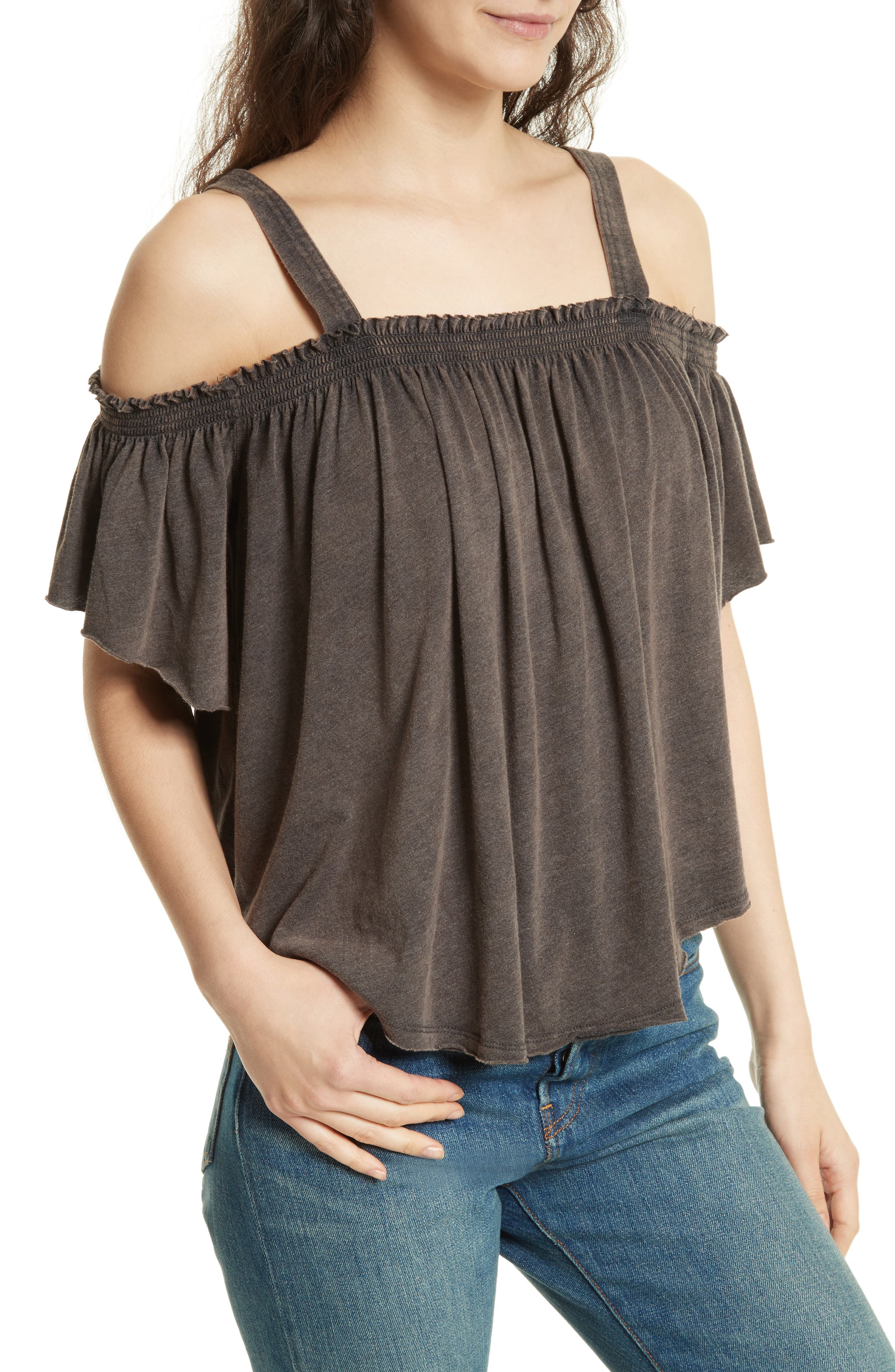 FREE PEOPLE,                             Darling Off the Shoulder Top,                             Alternate thumbnail 4, color,                             001