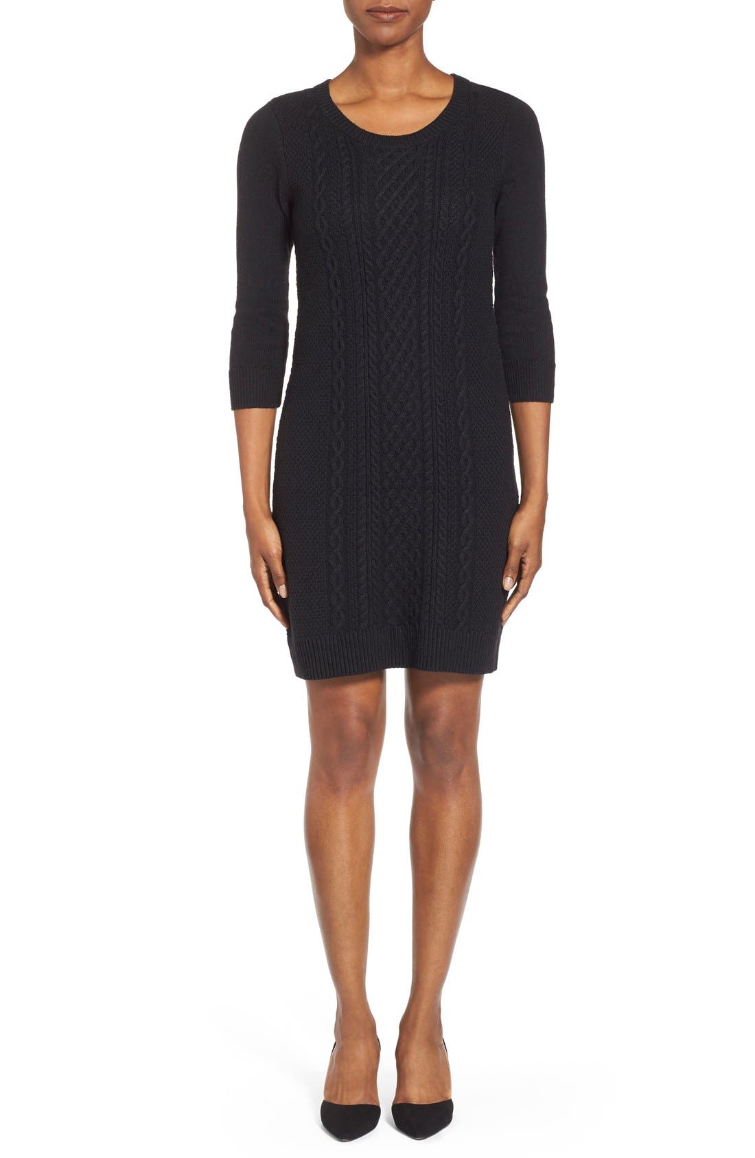 Cable Knit Sweater Dress,                             Main thumbnail 1, color,                             001
