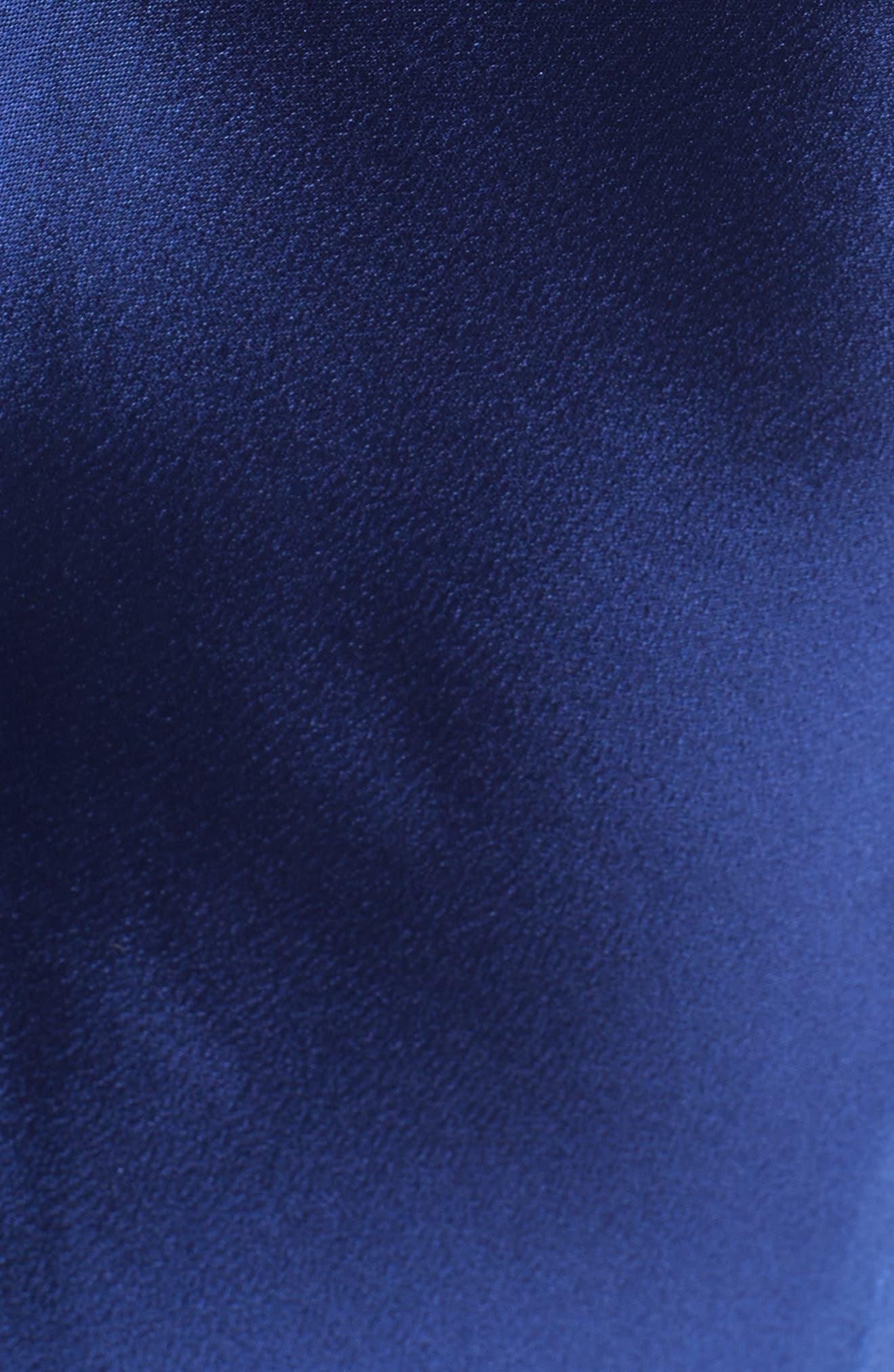 Bow Detail Crepe Satin Gown,                             Alternate thumbnail 6, color,