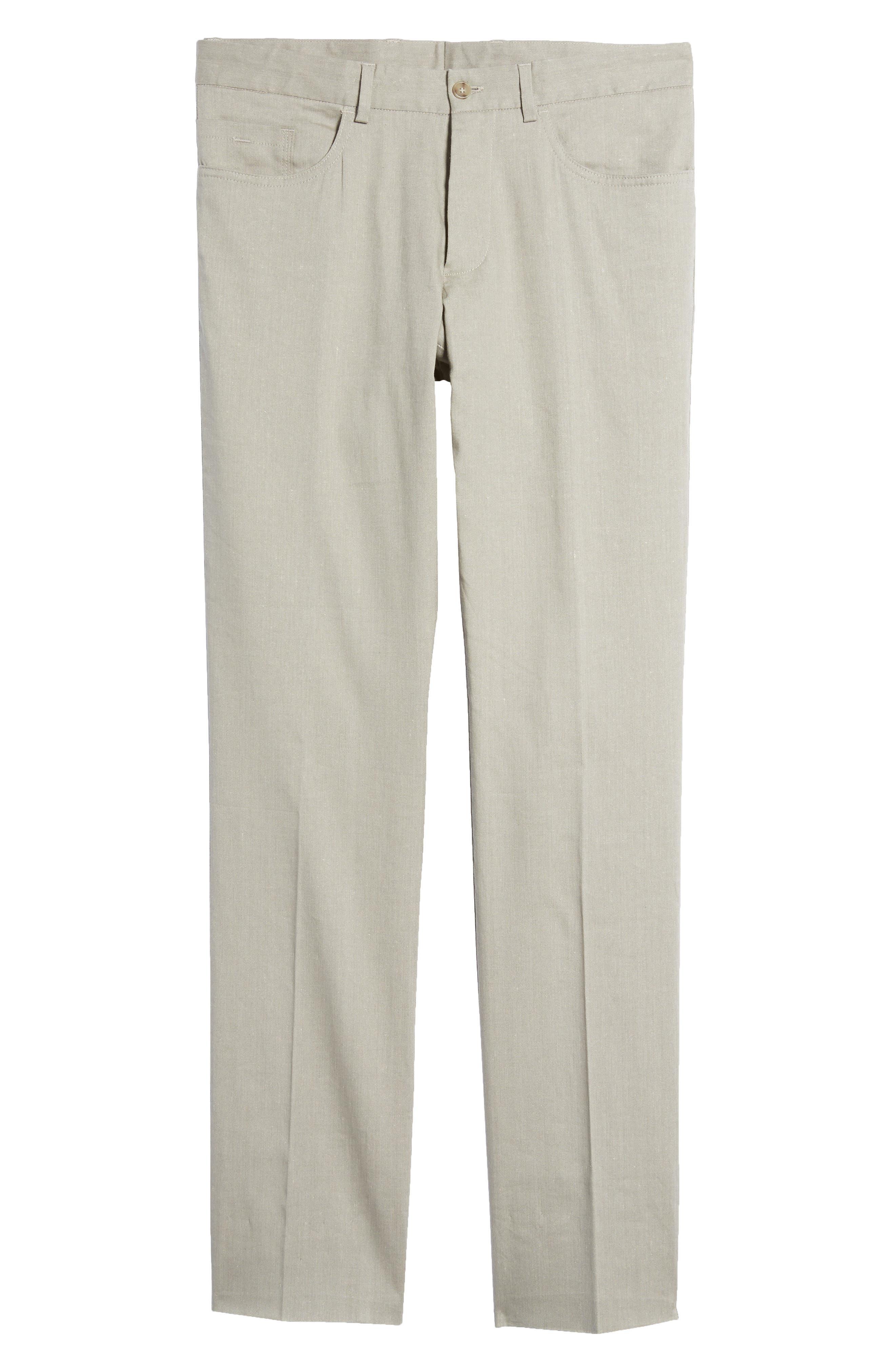 Flat Front Stretch Linen & Cotton Trousers,                             Alternate thumbnail 6, color,                             050