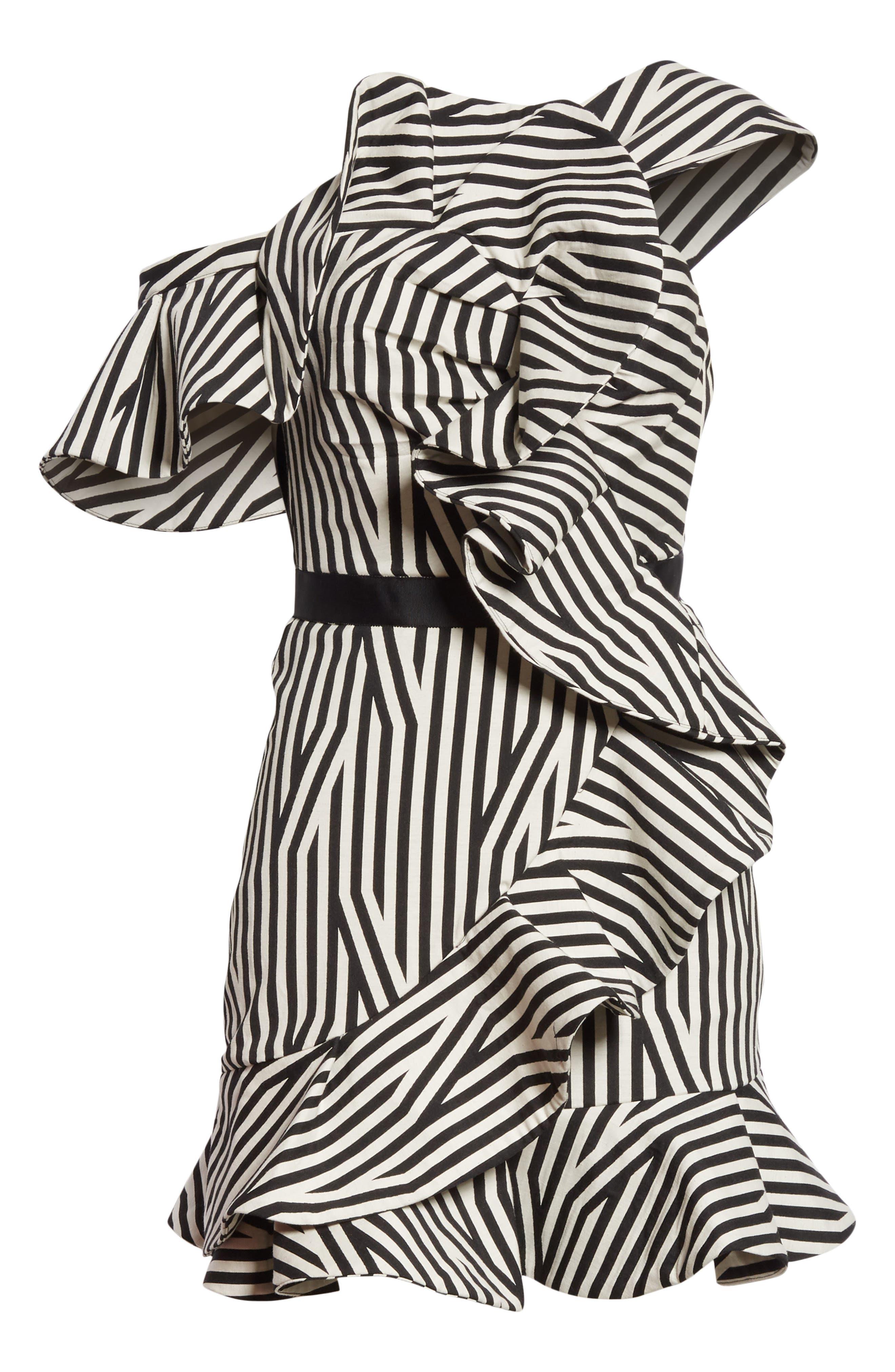 Abstract Stripe Asymmetrical Dress,                             Alternate thumbnail 7, color,                             001