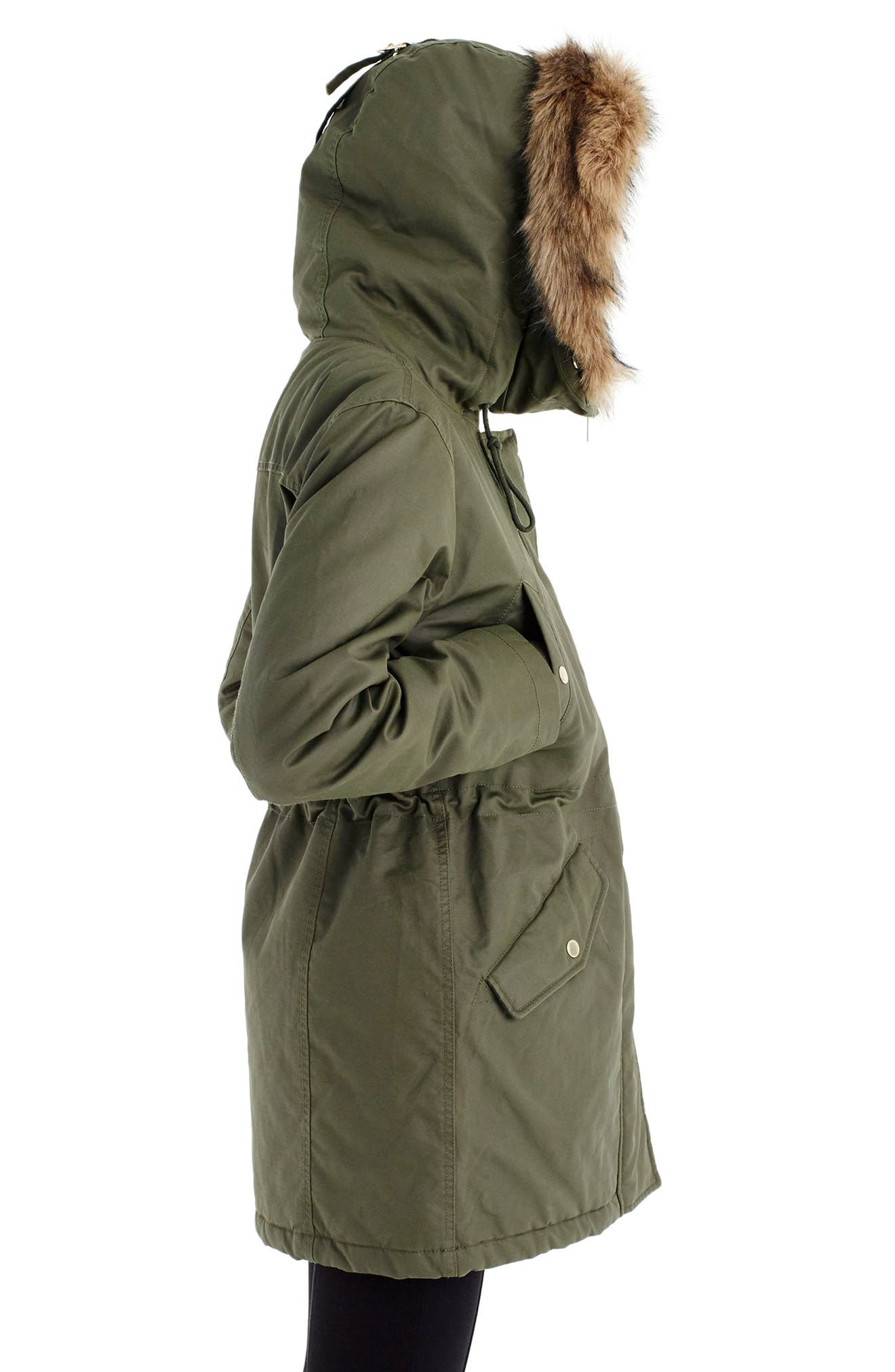 Perfect Winter Parka with Faux Fur Trim,                             Alternate thumbnail 3, color,                             WILD OLIVE